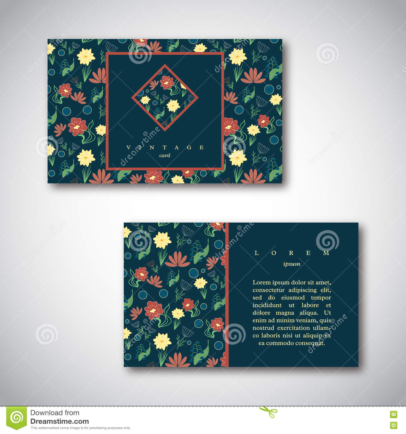 Set Of Business Cards With Floral Pattern Vintage Card Template