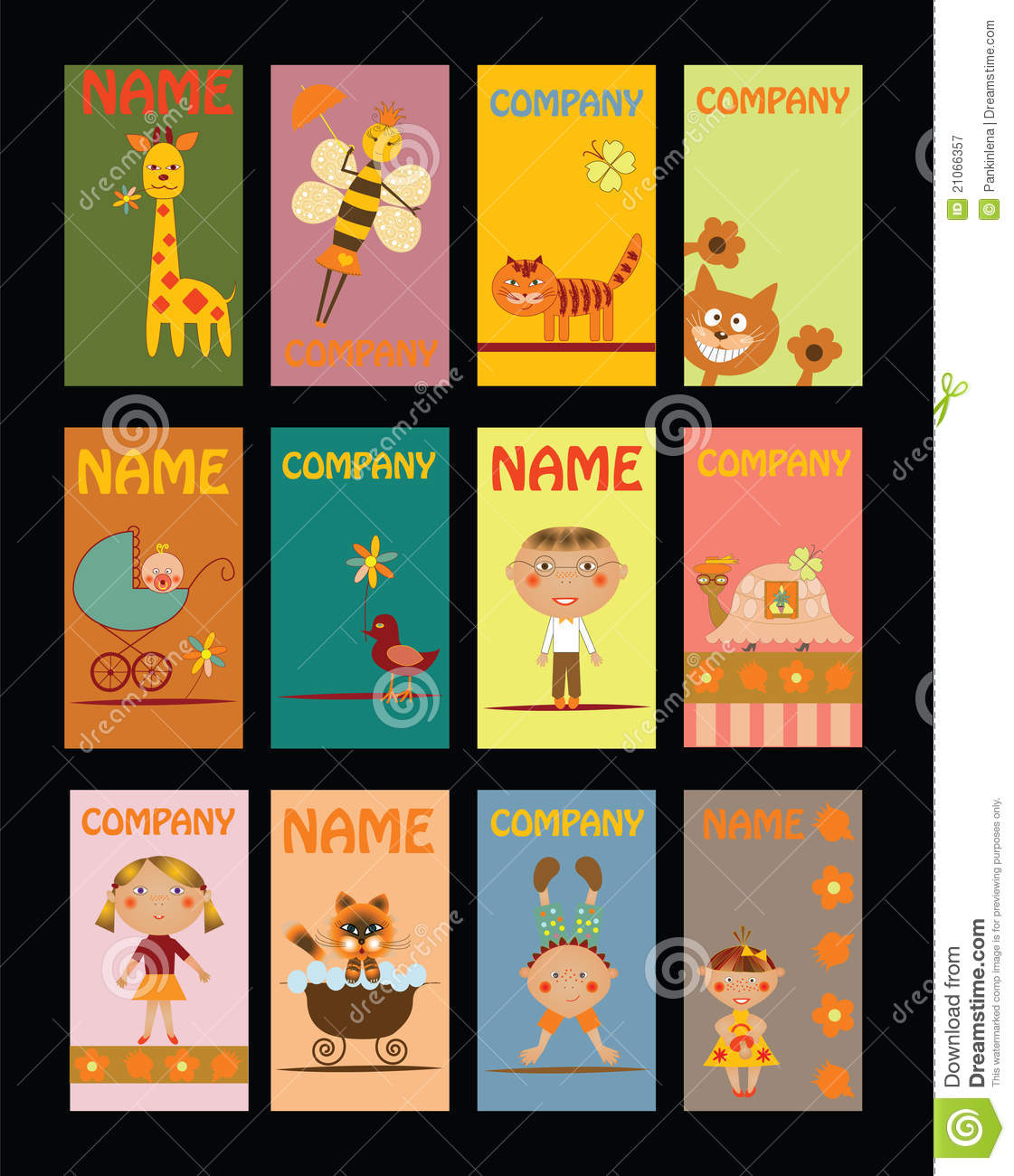 Set Of Business Cards For Kindergarten Royalty Free Stock Photography ...