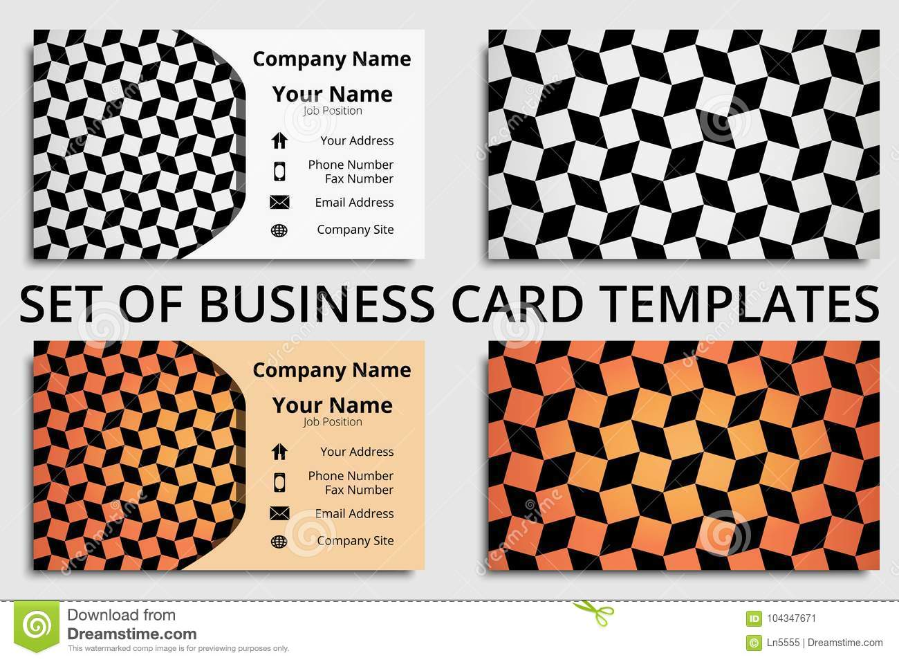 Set Of Business Cards With Modern Design In Black, White And