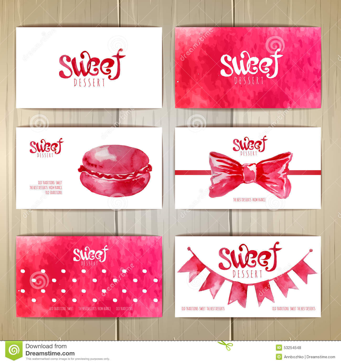 Set Of Business Cards With Sweets Stock Vector Illustration Of