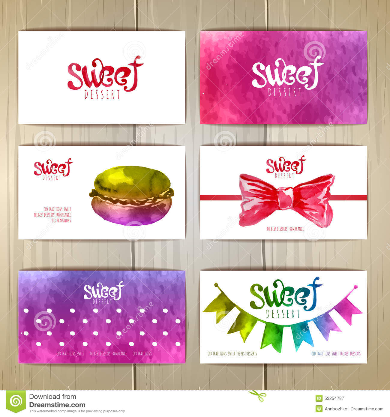 Set of business cards with sweets or desserts stock vector set of business cards with sweets or desserts stock vector illustration of blot food 53254787 colourmoves