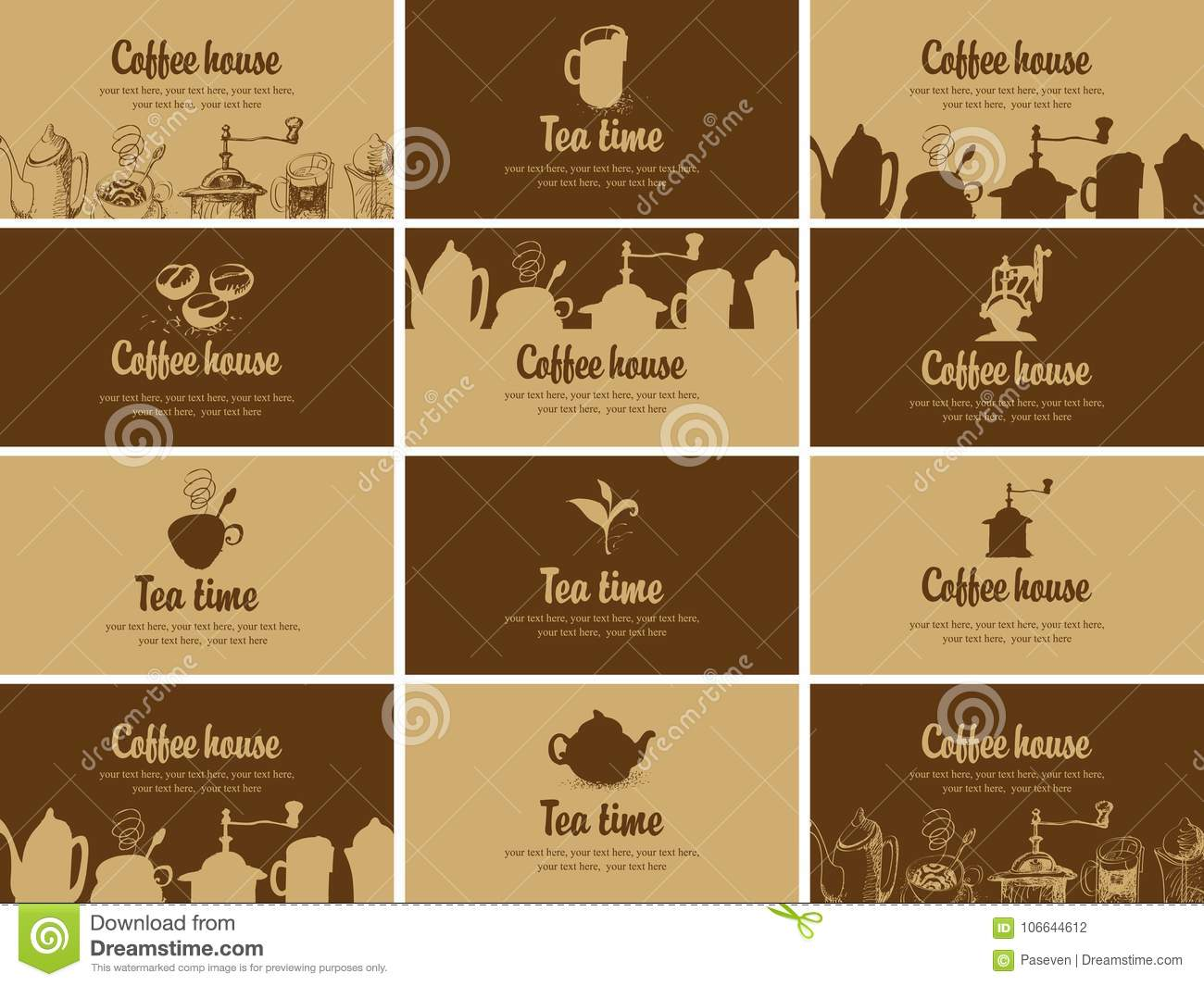 Set of business cards on topic of tea and coffee stock vector download set of business cards on topic of tea and coffee stock vector illustration of reheart Choice Image