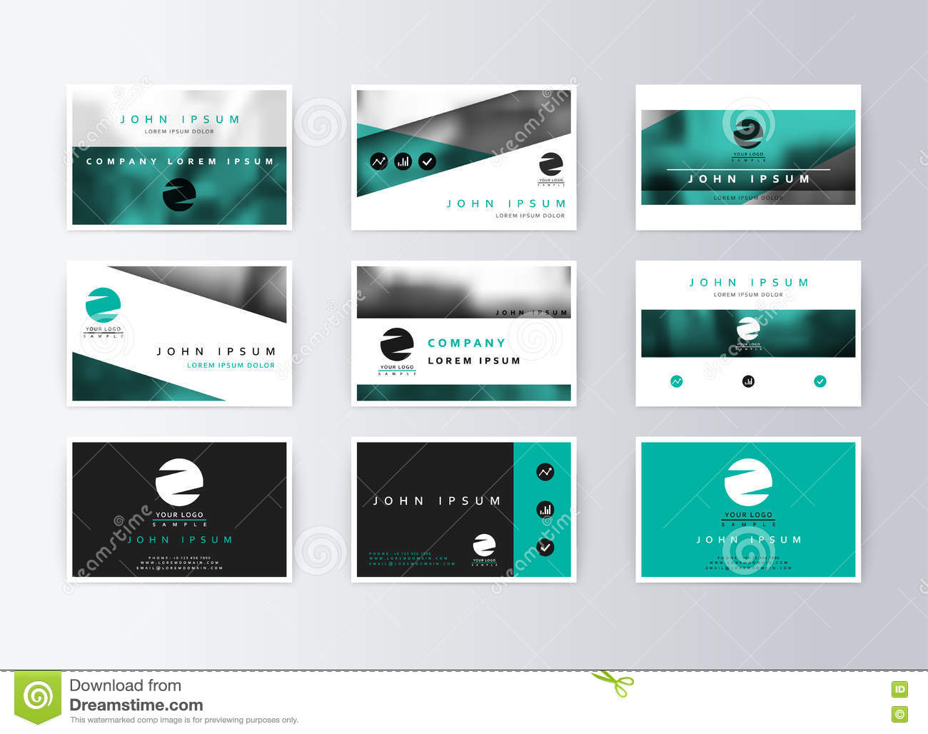 Set Of Business Cards, Turquoise Background. Template Information ...