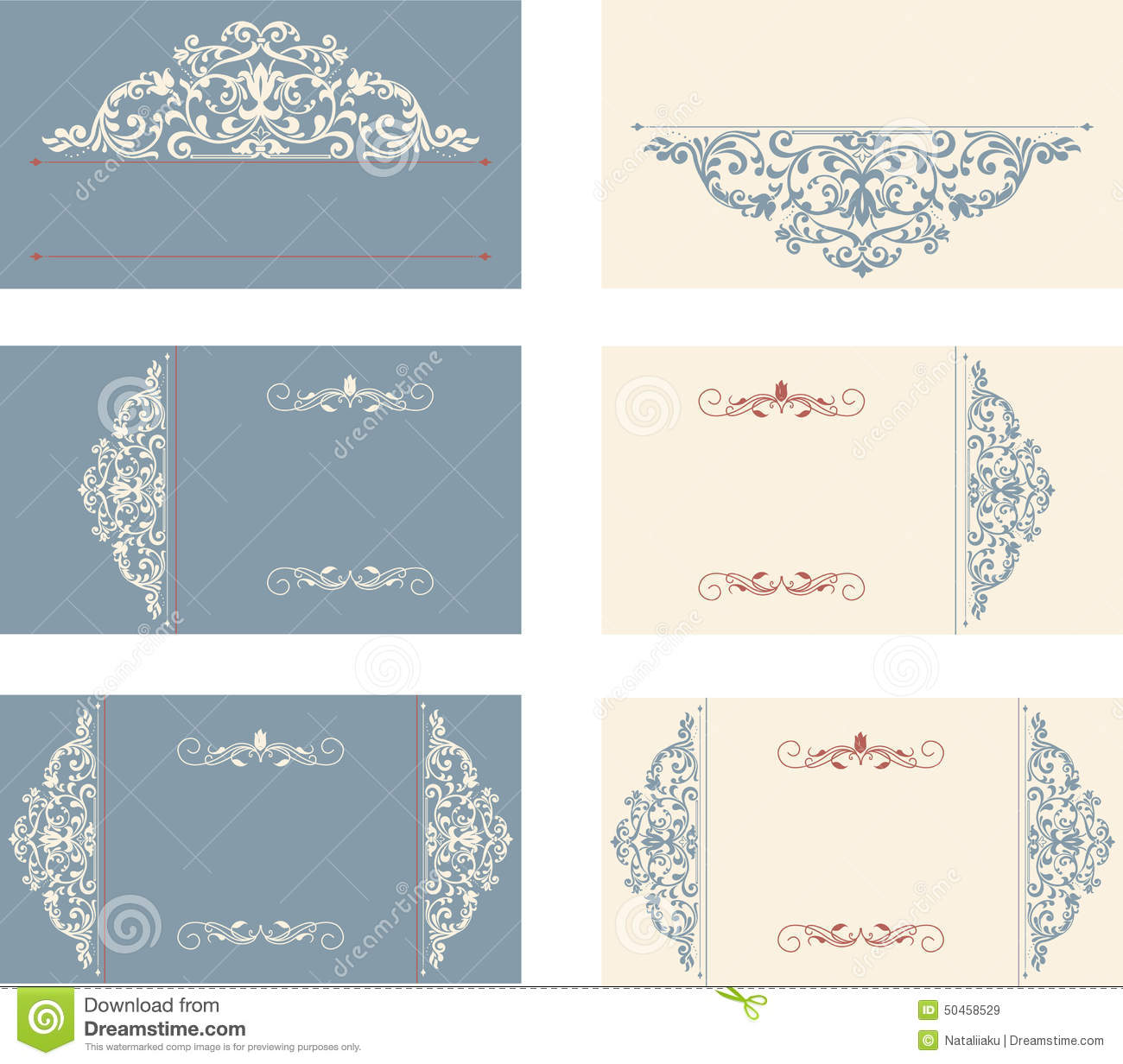 Set Of Business Cards With Victorian Pattern Stock Vector