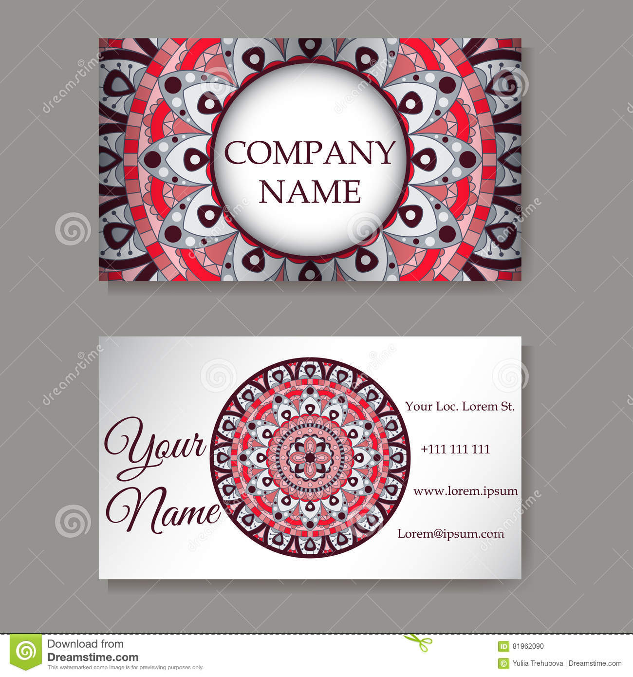 Set Of Business Cards. Vintage Pattern In Retro Style With Mandala ...