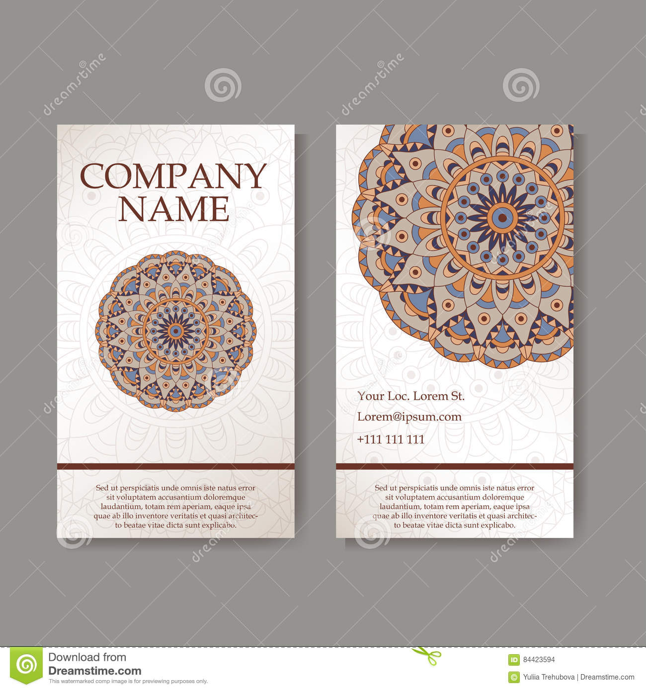 set of business cards vintage pattern in retro style with mandala