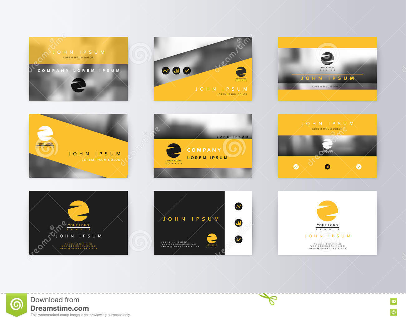 Set of business cards yellow background template information card set of business cards yellow background template information card colourmoves