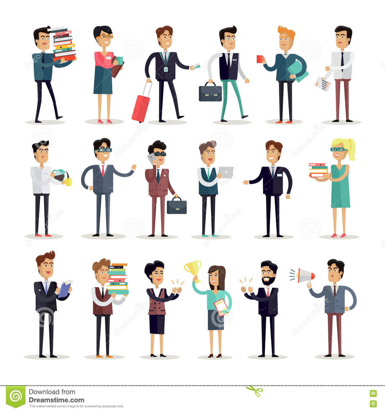 Character Design Job Description : Set of business characters vector in flat design