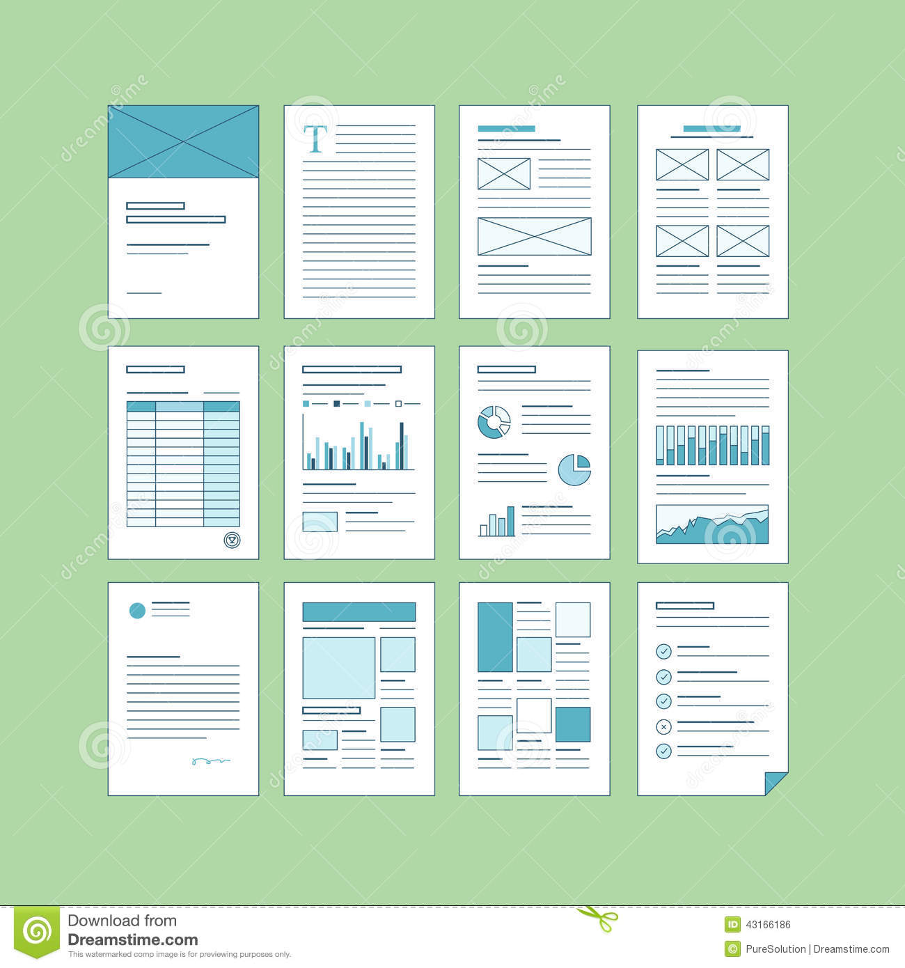 Set Of Business A4 Documentation Templates Stock Vector ...