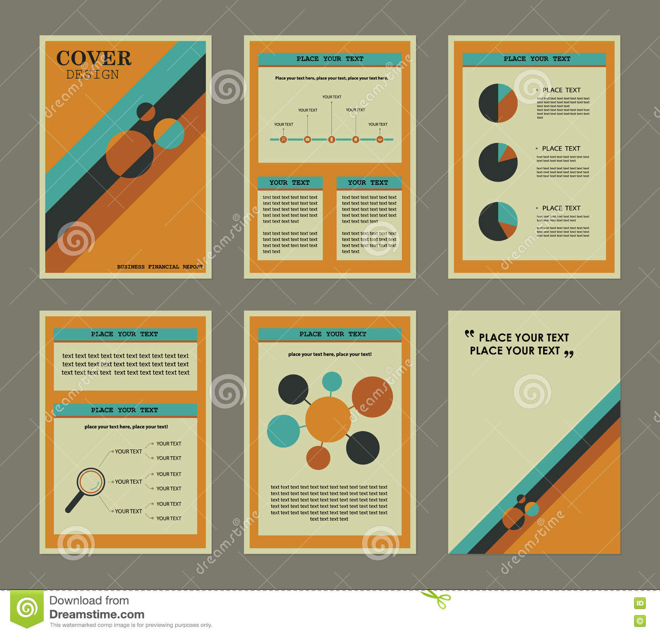 set of business financial report book cover and page stock vector set of business financial report book cover and page