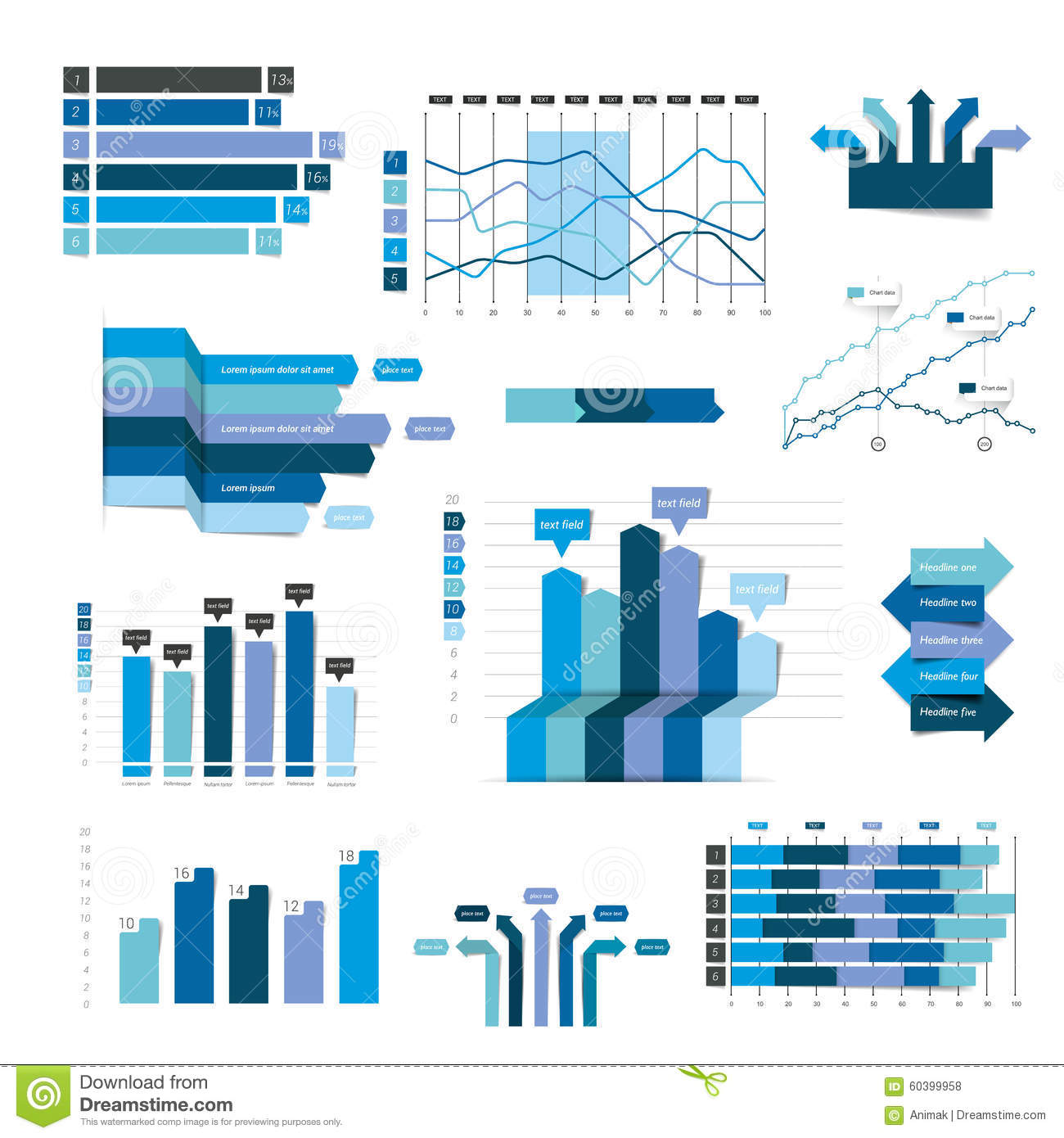 Set Of Business Flat 3d Design Graph Stock Vector