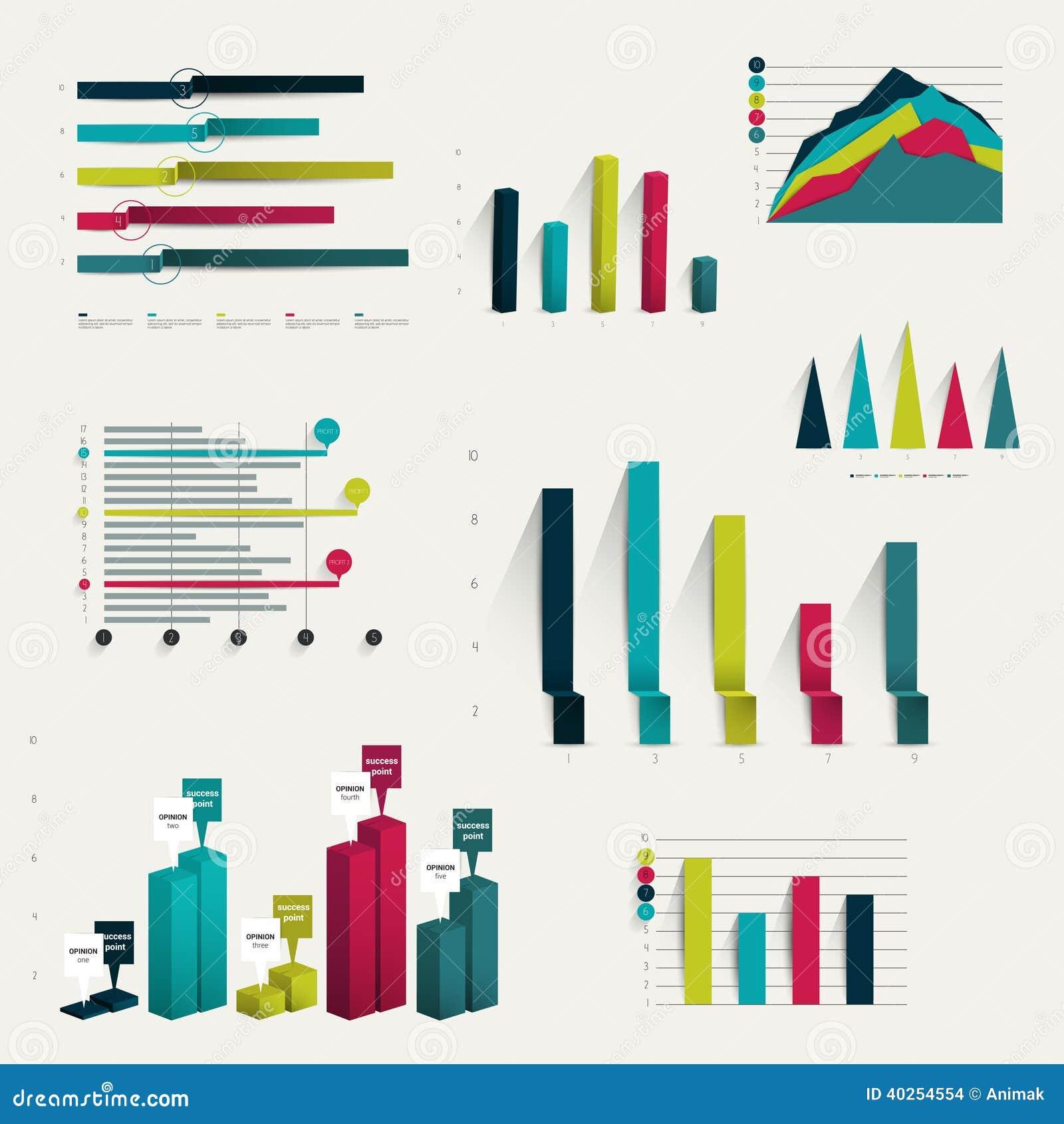 Set Of Business Flat 3d Design Graph Stock Vector