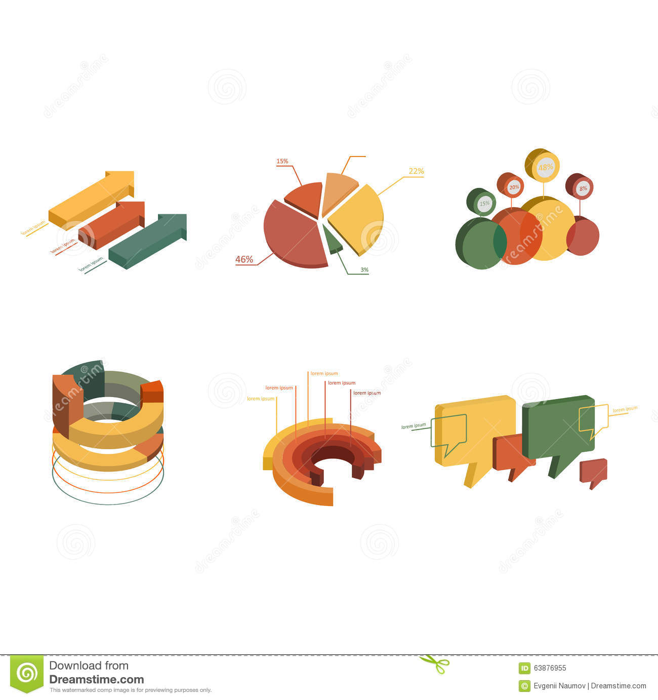 Set Of Business Flat 3d Design Graph