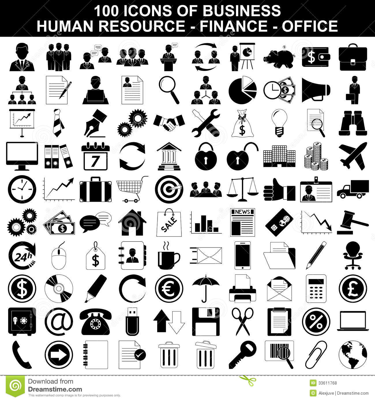 set of business icons  human resource  finance royalty