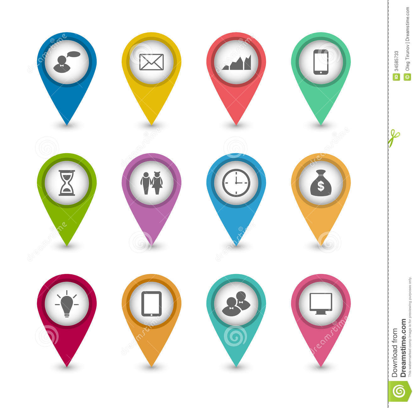 Set Business Infographics Icons For Design Website Royalty Free ...