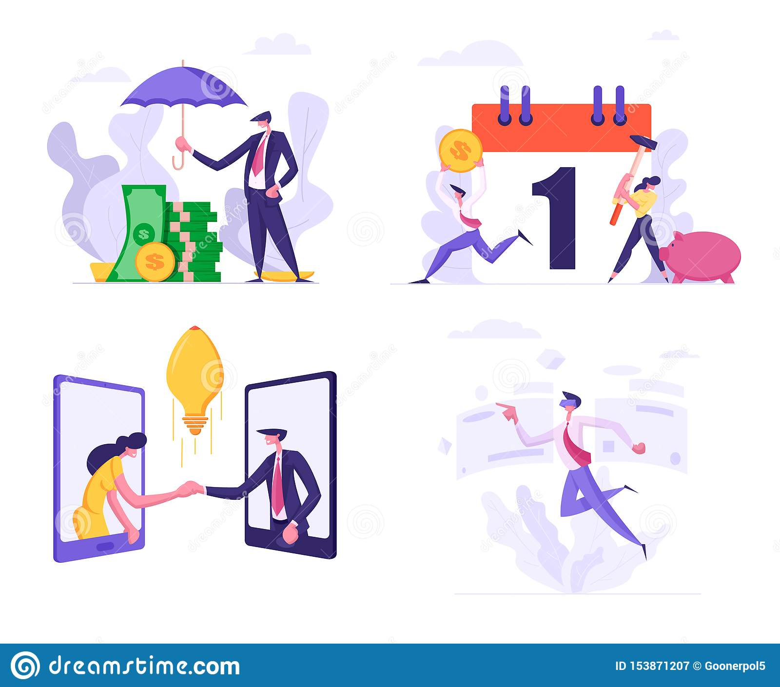 Set Business Man Cover Heap of Banknotes Money with Umbrella, People Break Piggy Bank for Tax Payment Schedule