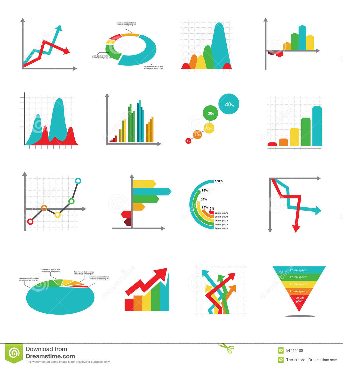 Set Of Business Marketing Dot Bar Pie Charts Diagrams And