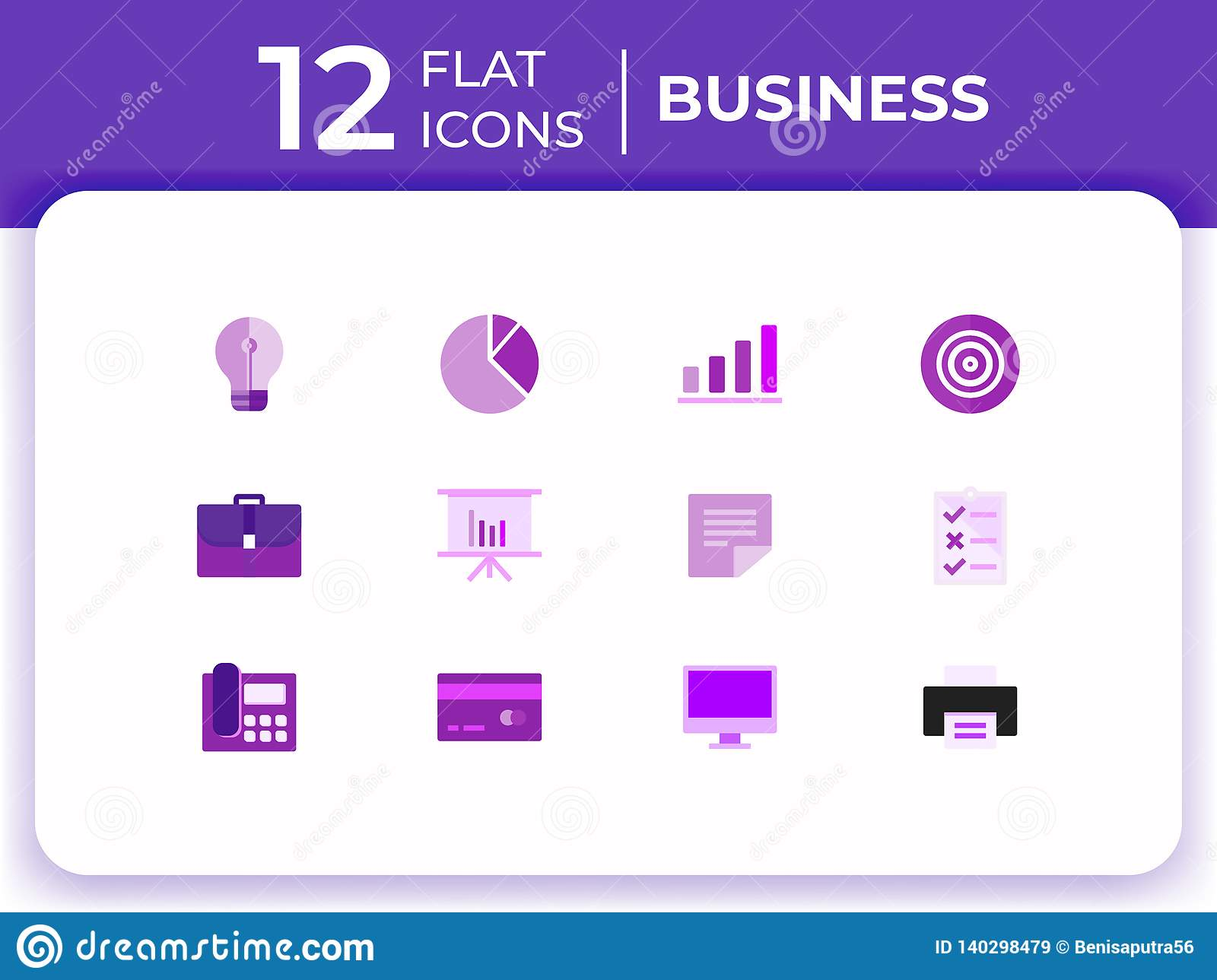 Set Of 12 Business Modern Flat Icons For Website, Flat Business