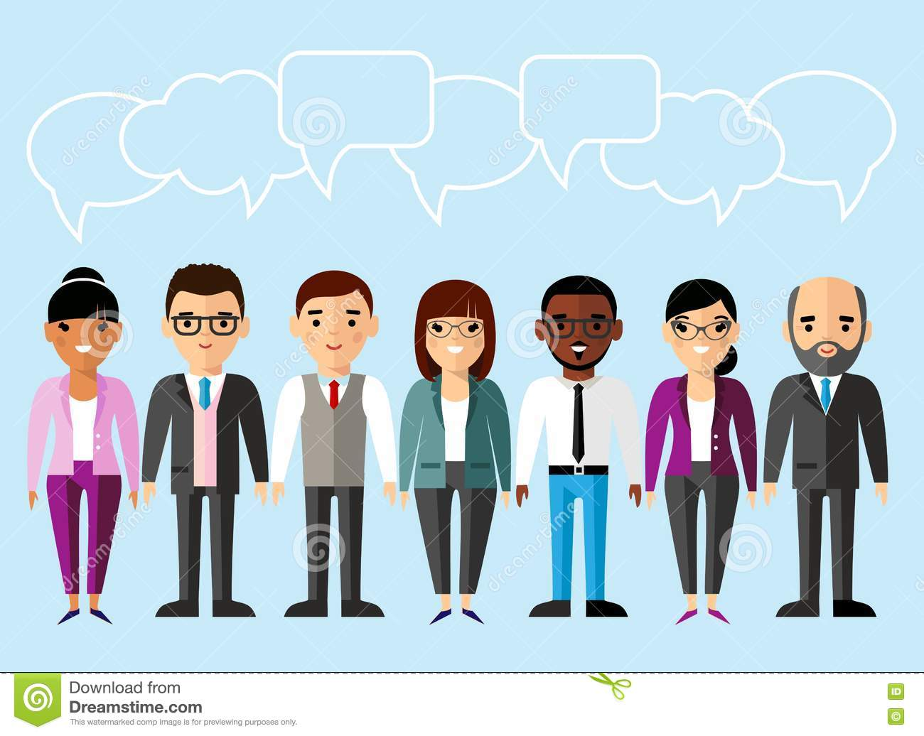 Set of business peoples in flat colorful style