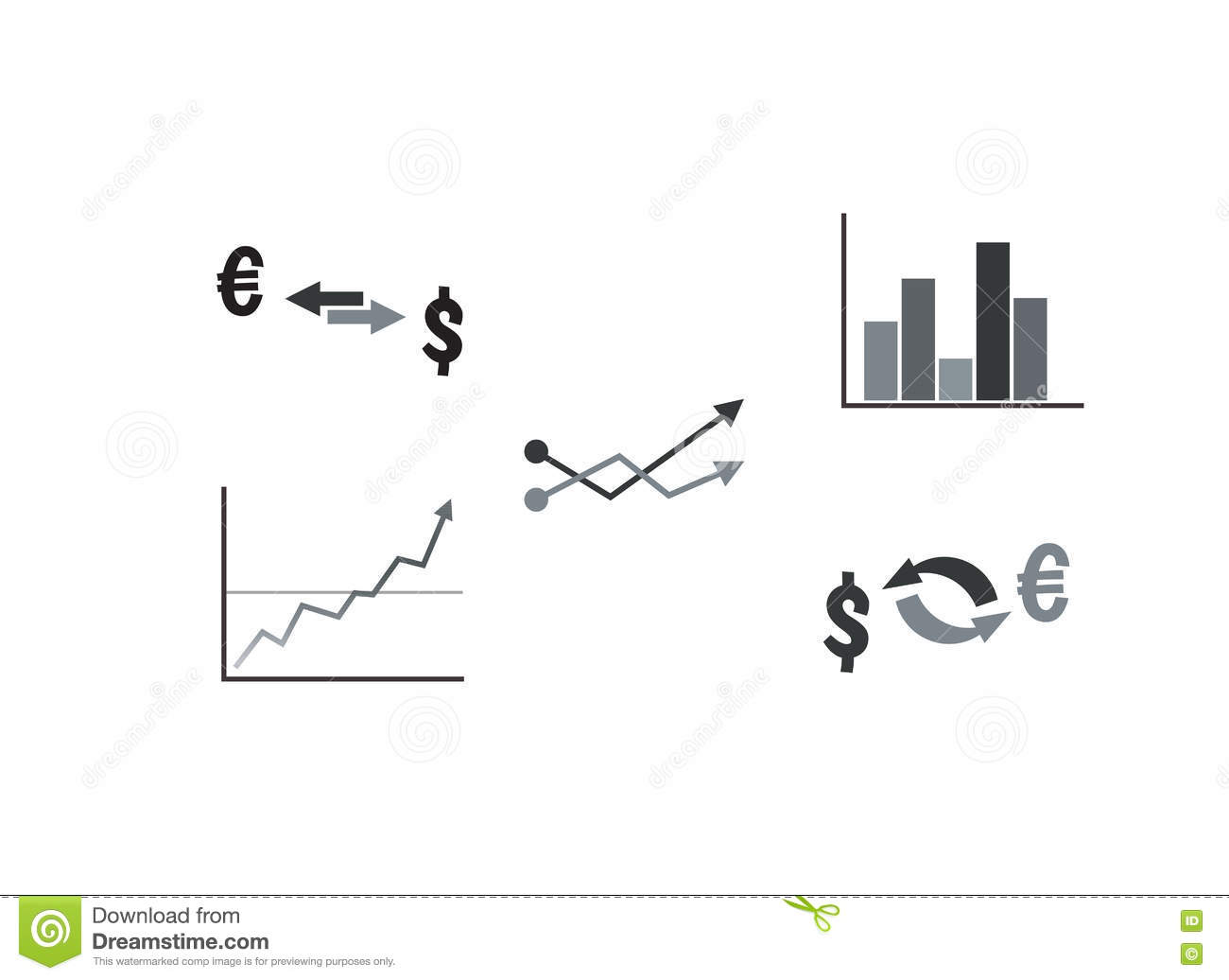 Set of business symbols with graph currency exchange stock vector set of business symbols with graph currency exchange biocorpaavc Images