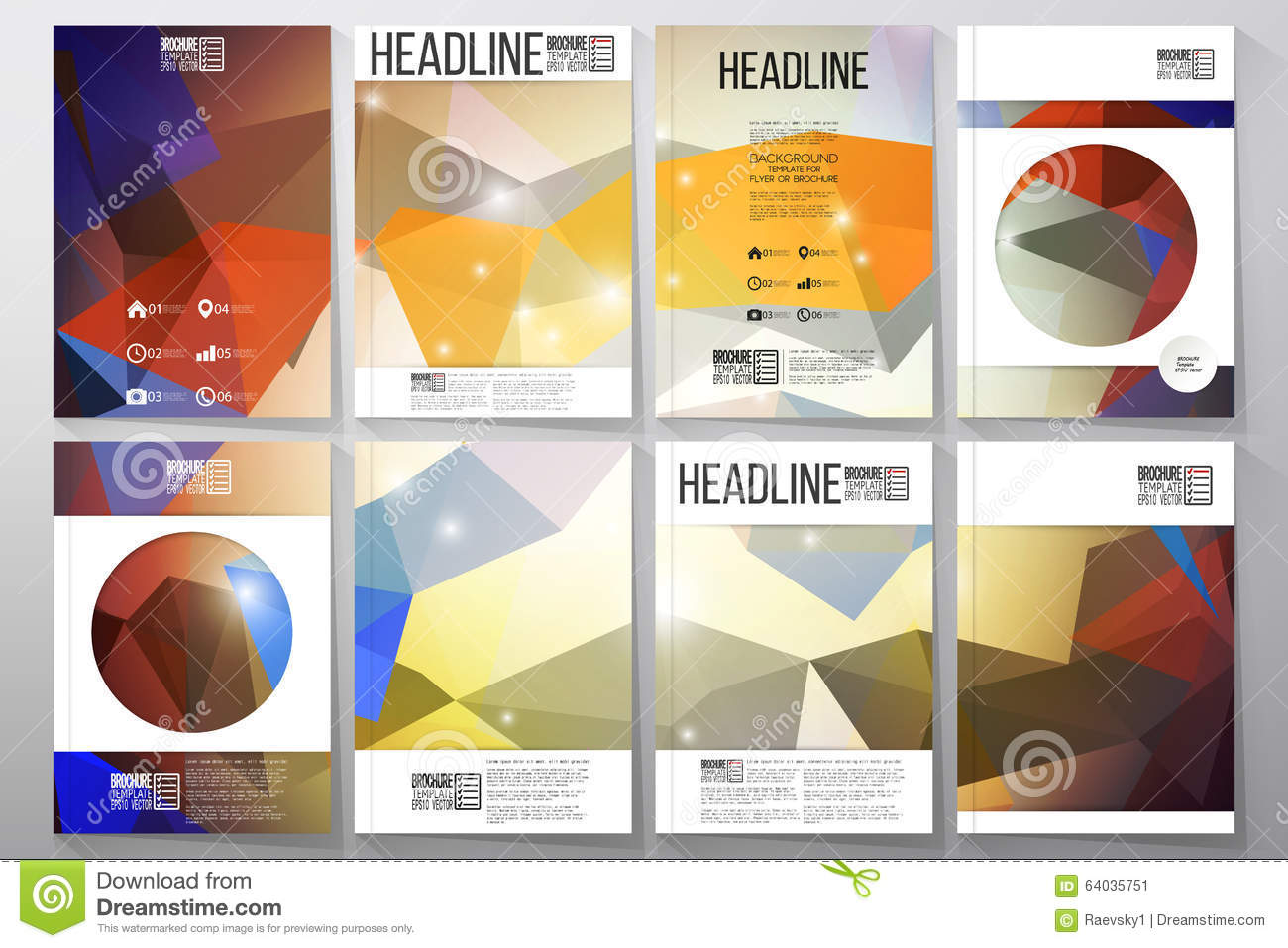 science brochure template - set of business templates for brochure flyer or stock