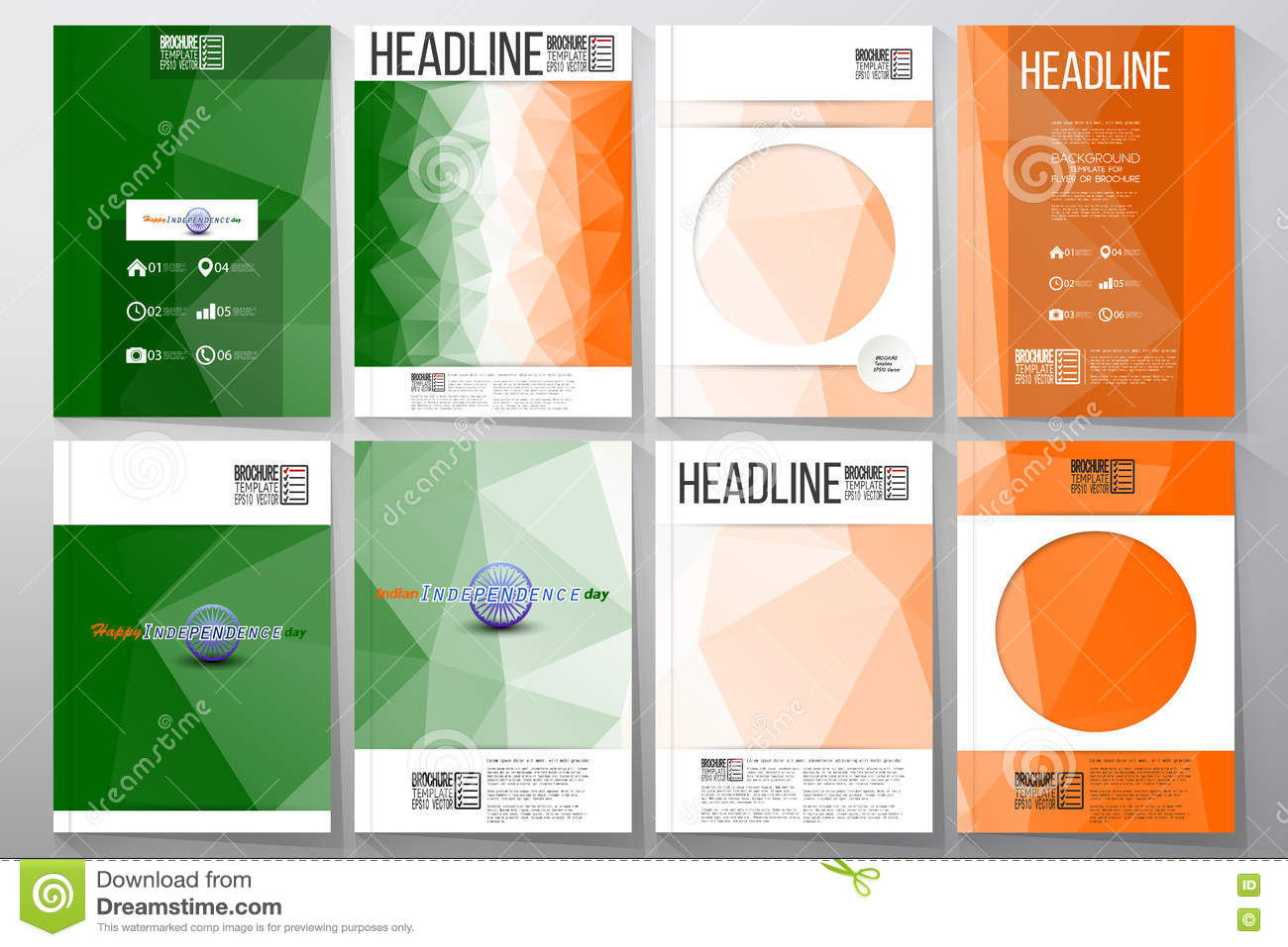 Set Of Business Templates For Brochure Flyer Or Booklet Happy