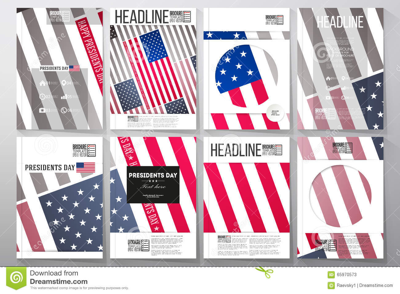 set of business templates for brochure flyer or booklet presidents day background with american flag abstract vector