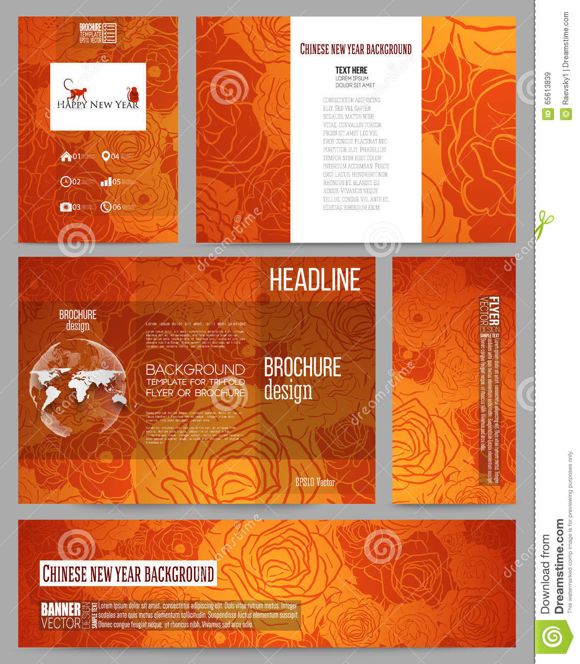 set of business templates for presentation brochure flyer or booklet chinese new year