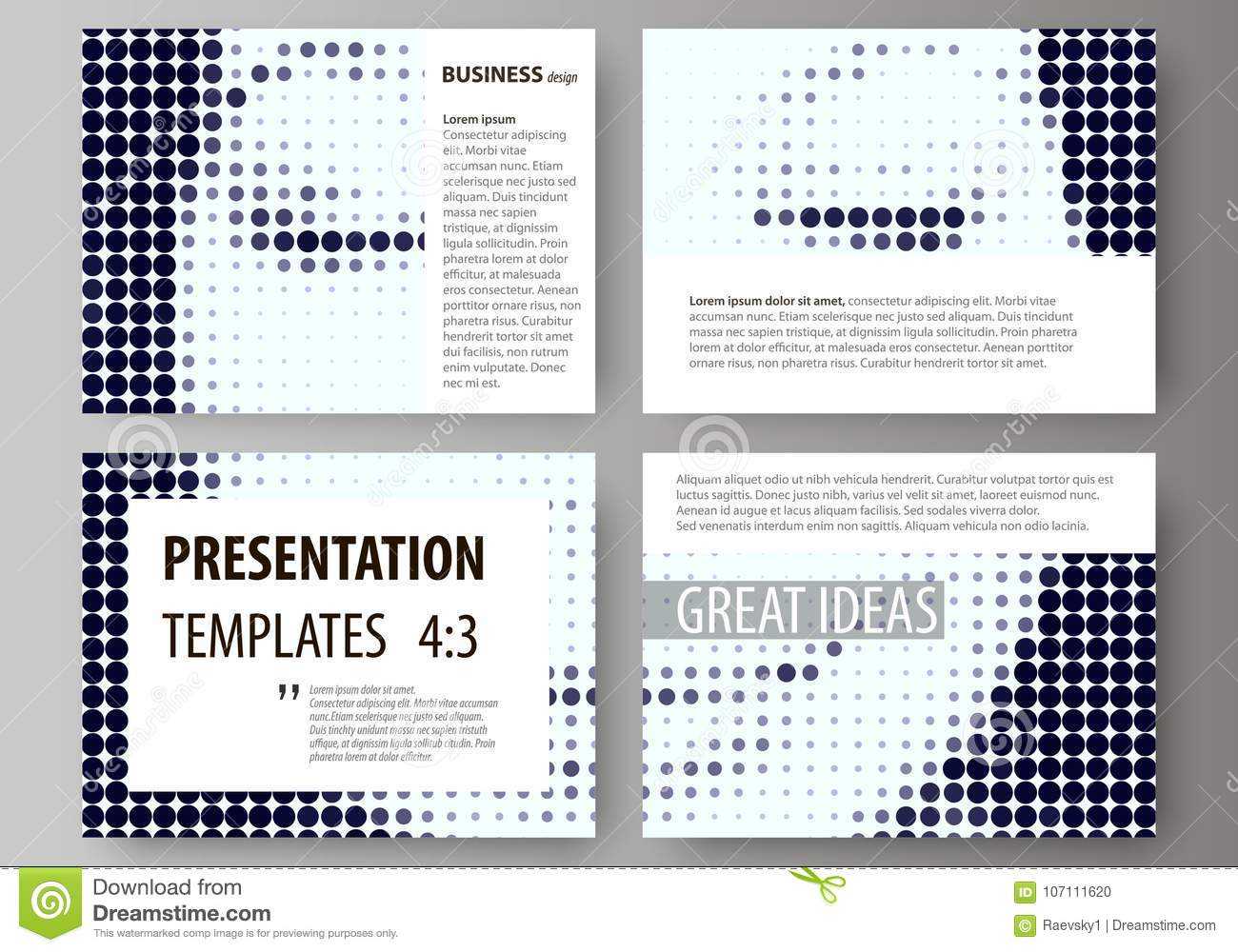 e1b021a2a1b92 Set of business templates for presentation slides. Easy editable abstract  vector layouts in flat design. Halftone dotted background