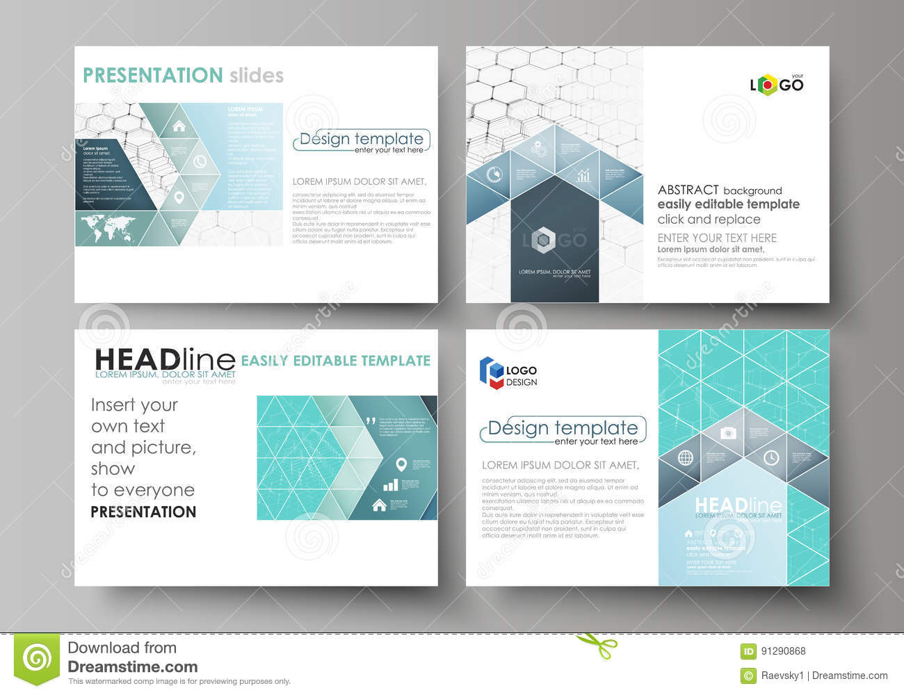 set of business templates for presentation slides abstract vector