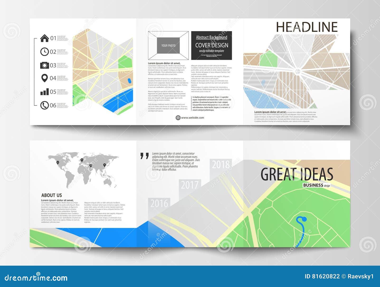 Set Of Business Templates For Square Tri Fold Brochures Leaflet - Us map fold