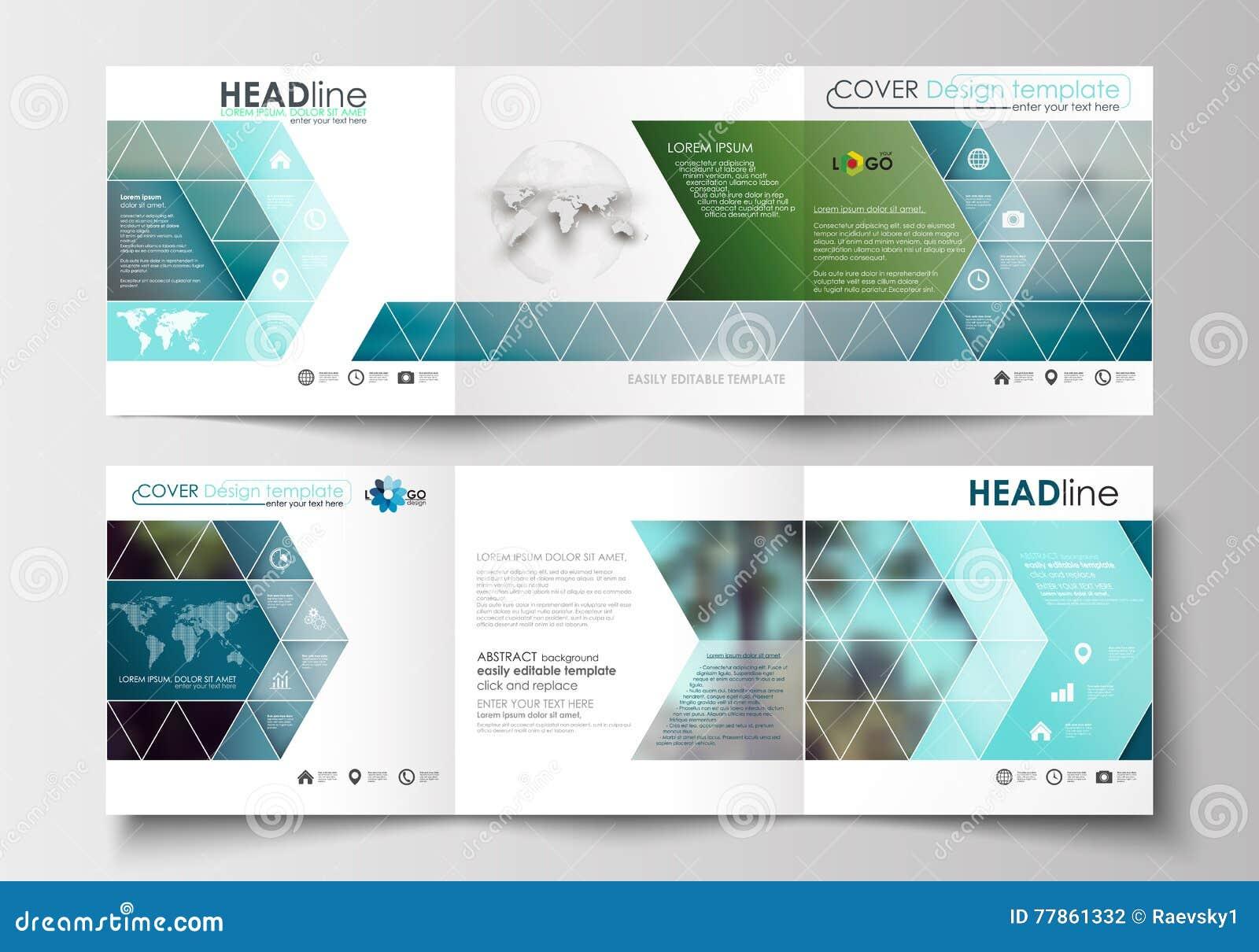 Set Of Business Templates For Tri-fold Brochures. Square Design ...