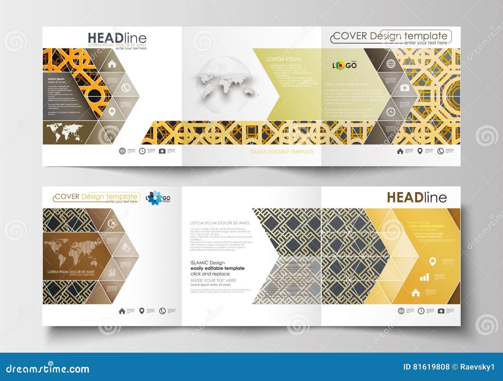 set of business templates for tri fold brochures square design leaflet cover flat layout. Black Bedroom Furniture Sets. Home Design Ideas