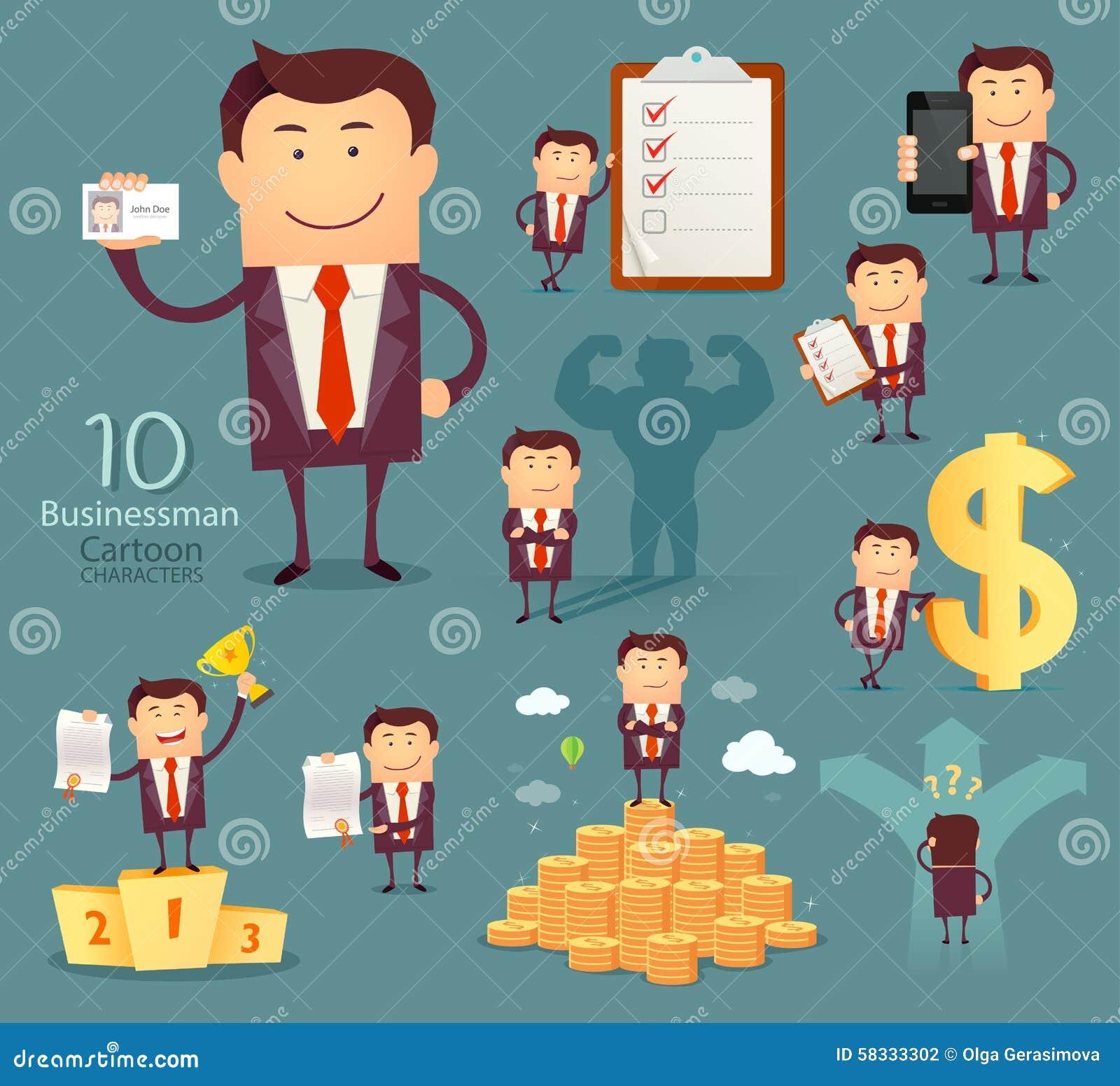 Set Of Businessman Cartoon Characters Stock Vector ...