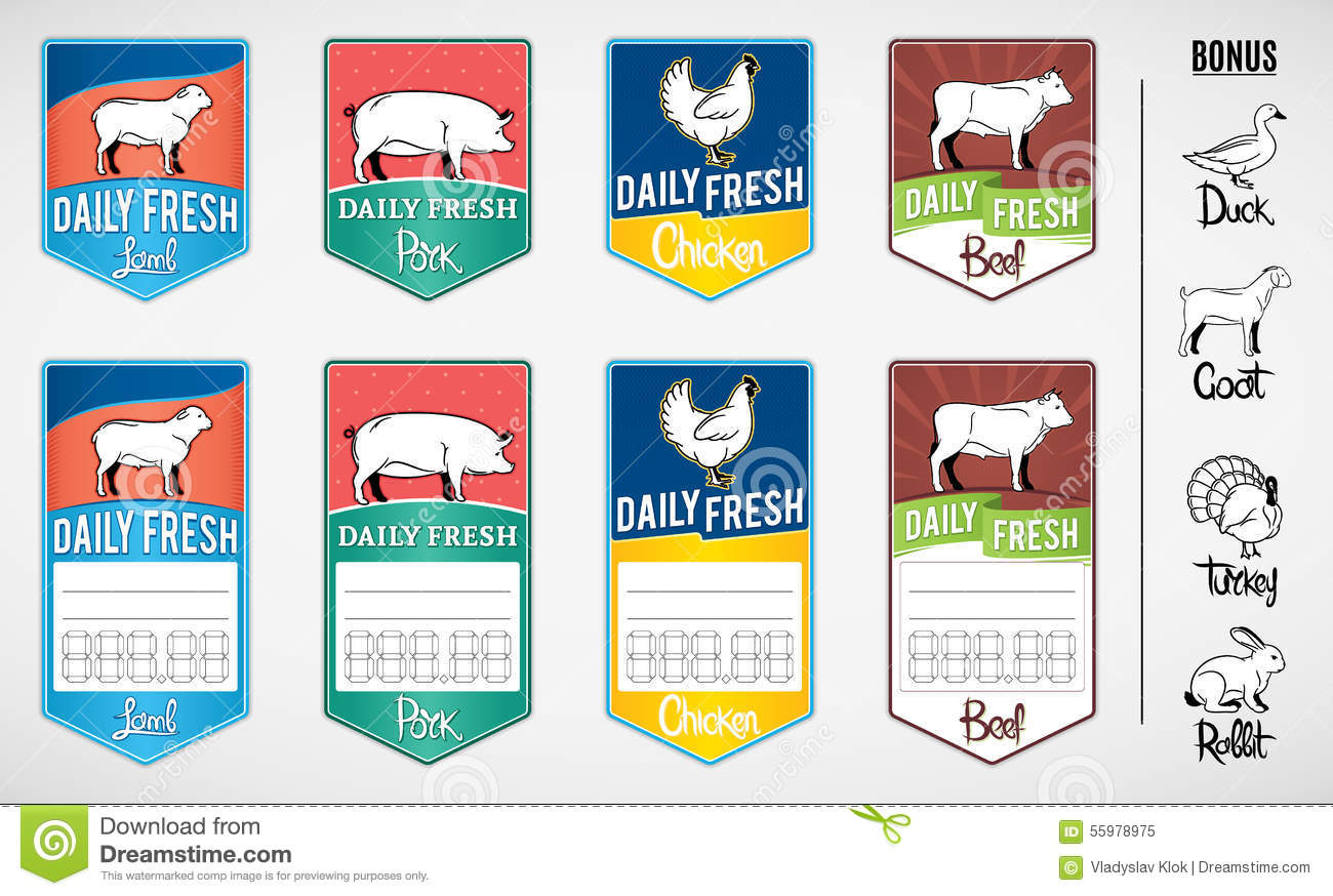 Store Tags: Set Of Butcher Shop Labels And Price Tags Stock Vector
