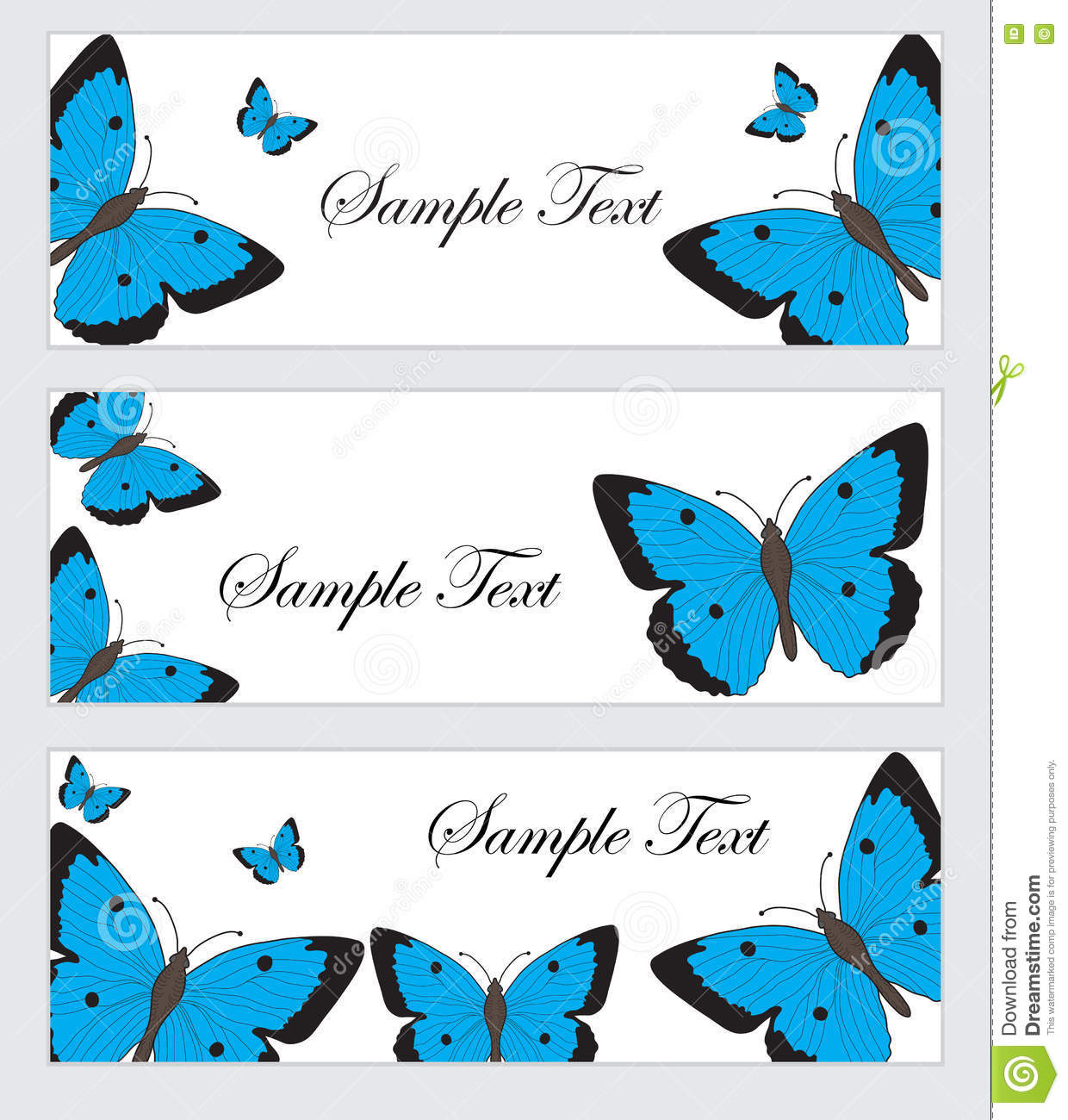set butterflies banner banner template with butterflies colored