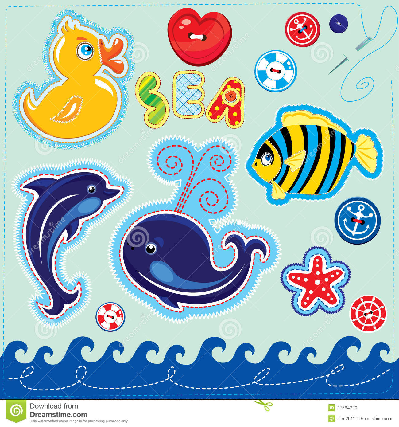 Set Of Buttons Cartoon Animals And Word SEA Han Stock