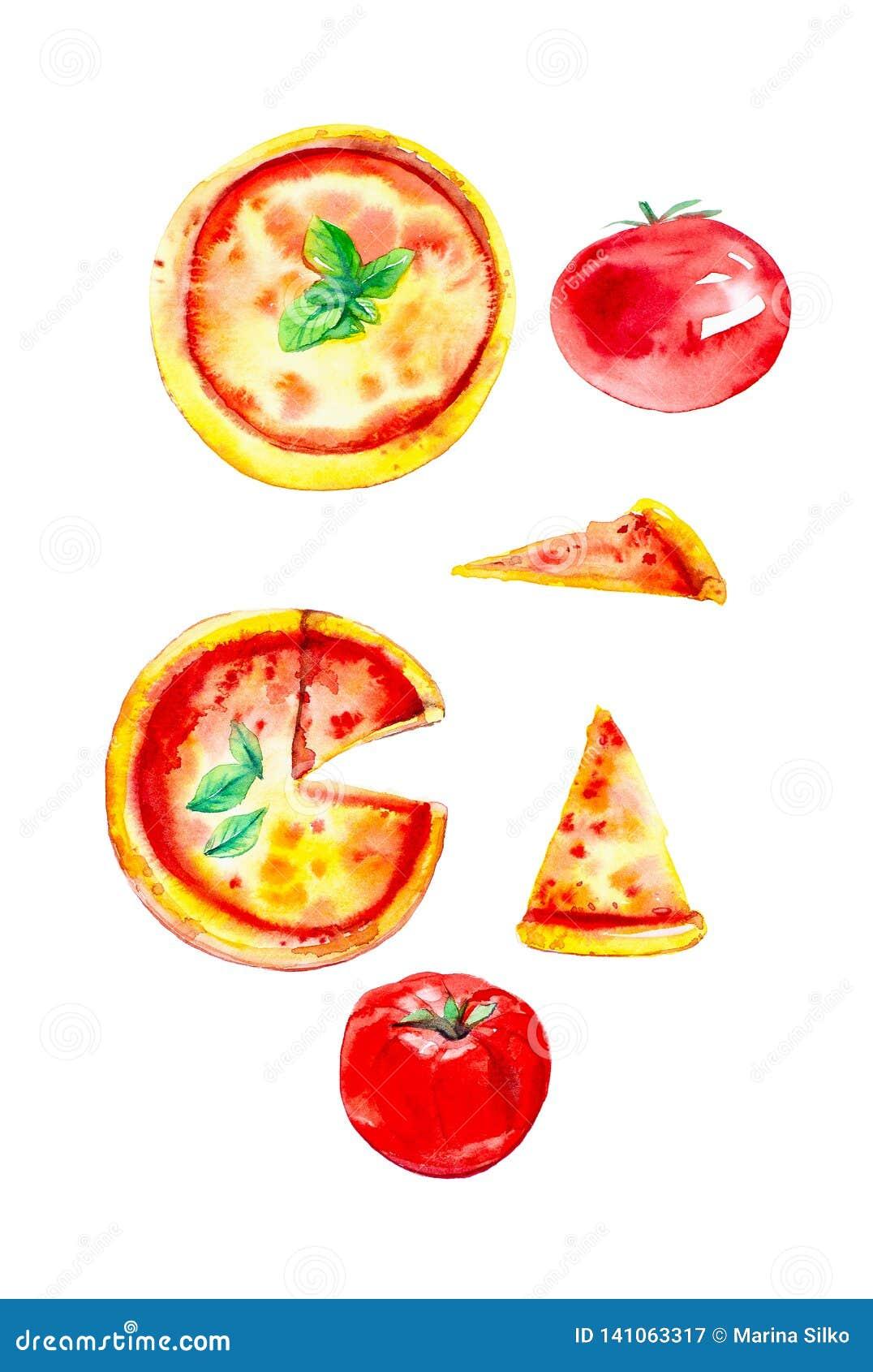 Set całe pizze, plasterki pizza i pomidory, Akwareli ilustracja odizolowywająca na białym tle