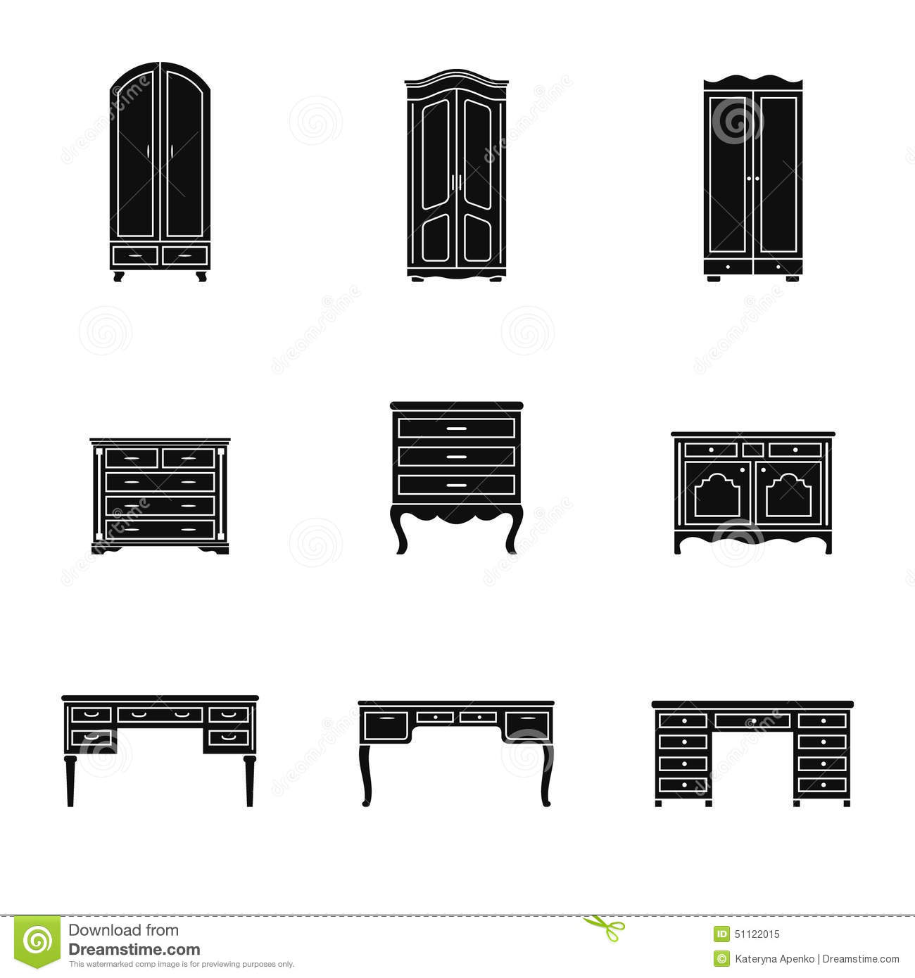 Set Of Cabinet Wardrobe And Writing Table Icons Stock