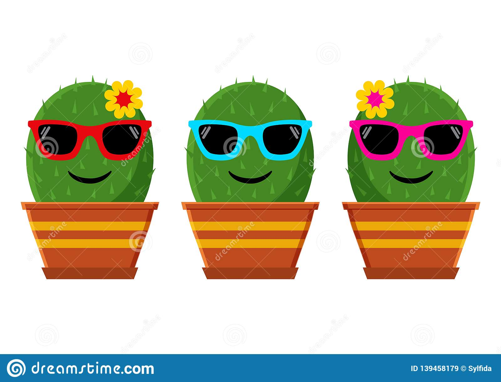 Set of cactus with sunglasses. Vector illustration