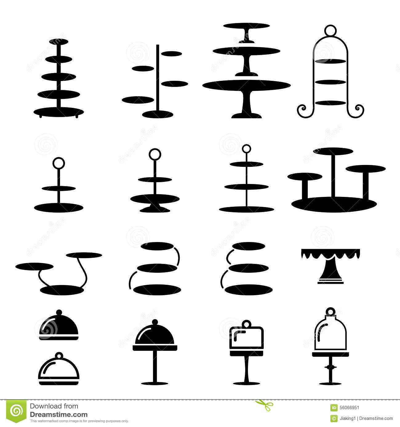 Set of cake stand in silhouette icon