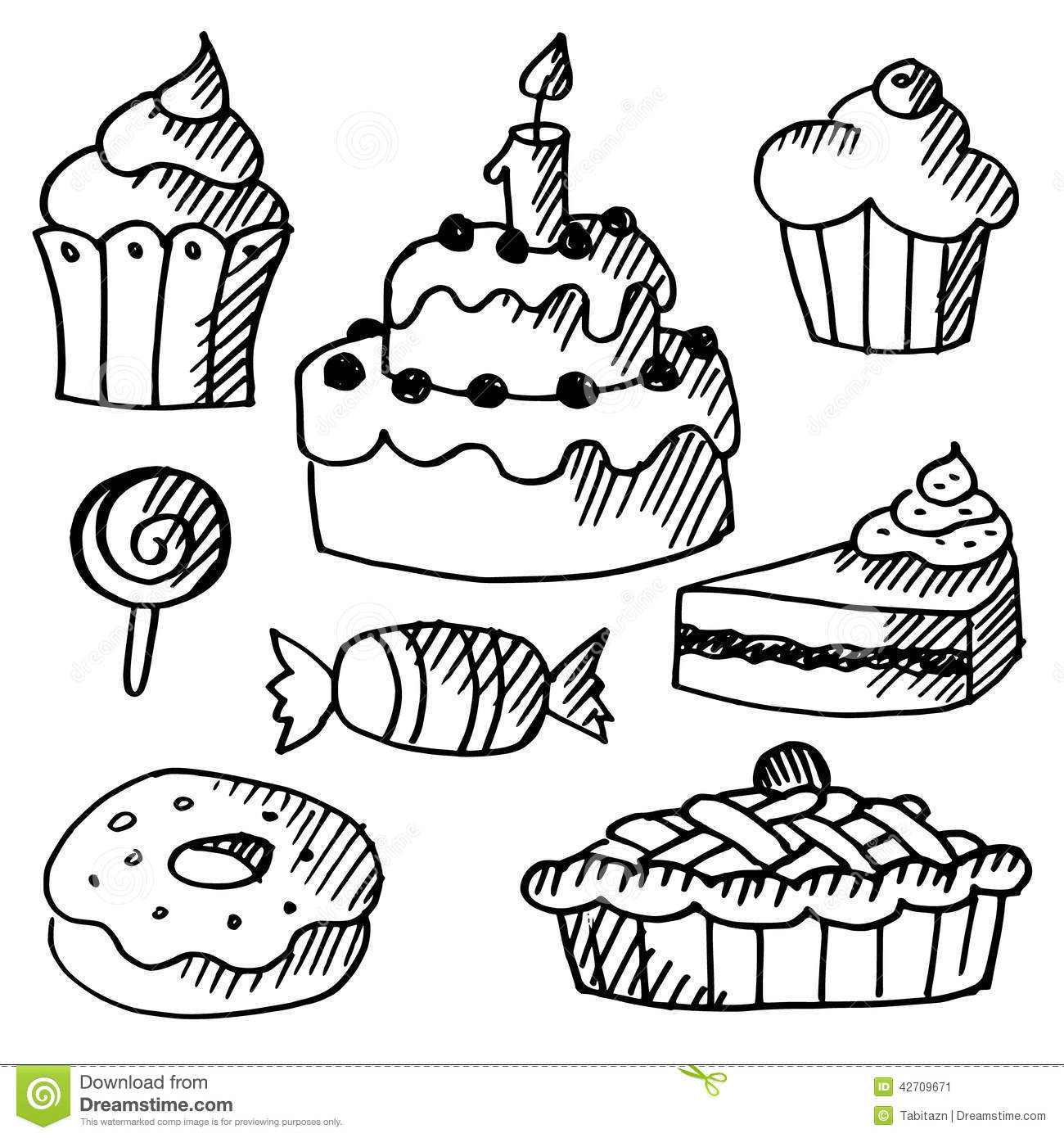 Set Of Cakes Cupcakes Sweets Doodle Sketches Stock