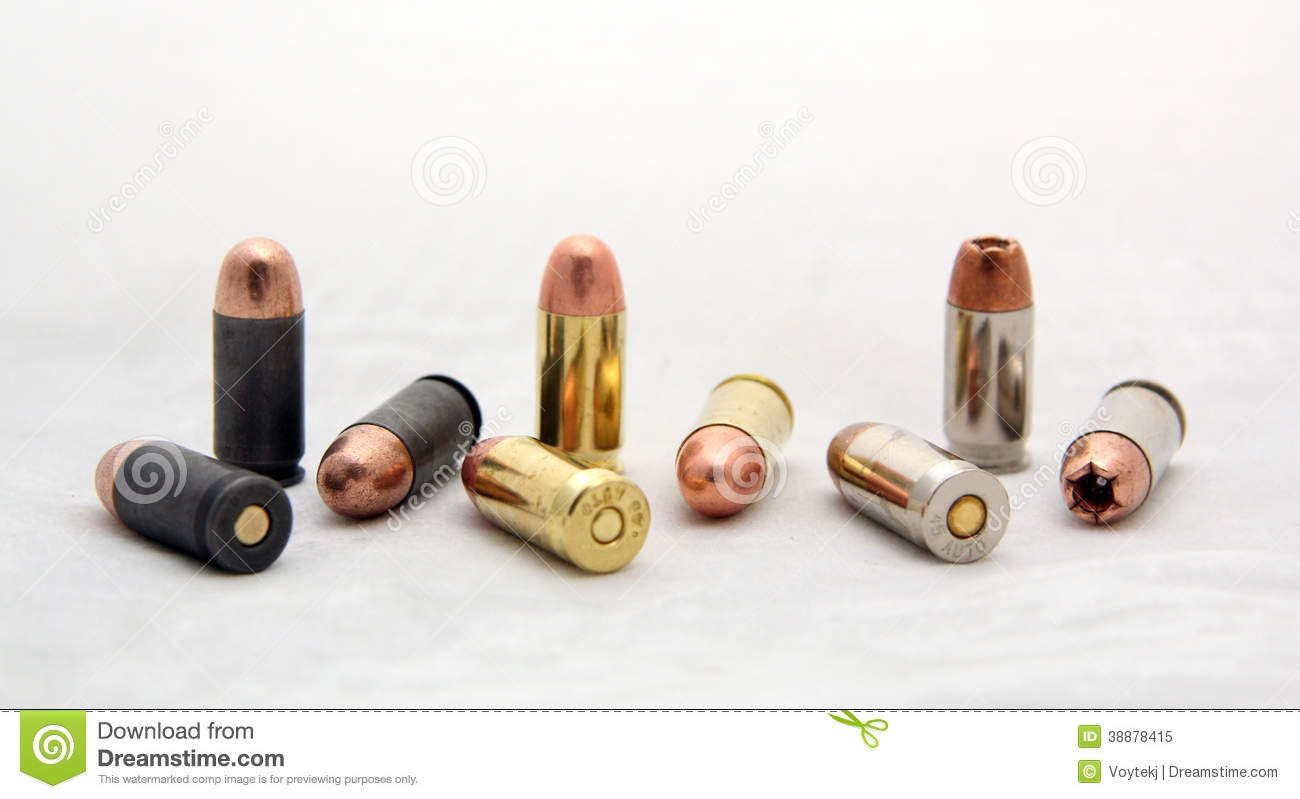 Set Of Cal .45 ACP Bullets Stock Photo - Image: 38878415