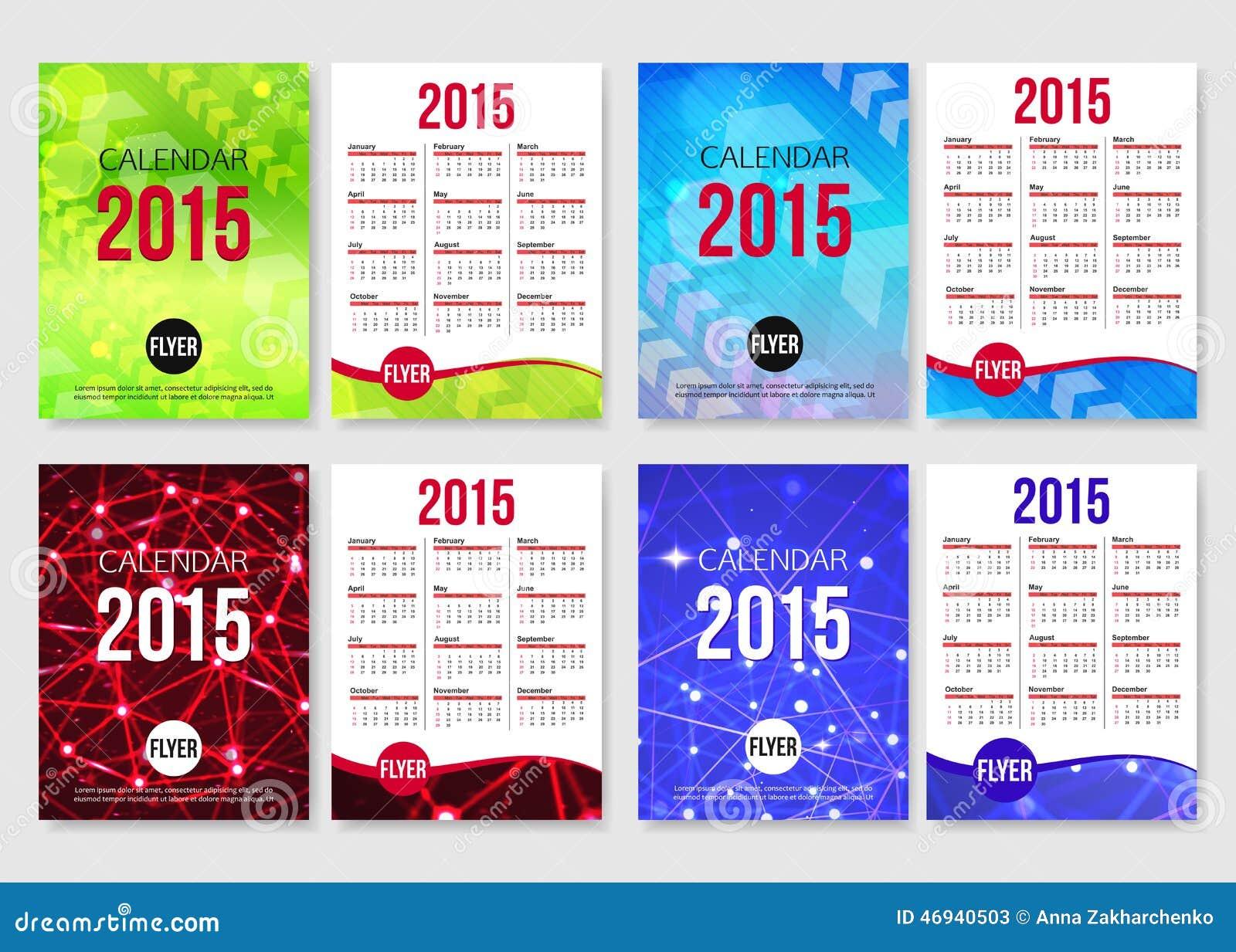 Set Of 2015 Calendar Template Brochure Design Vector – Calendar Flyer Template