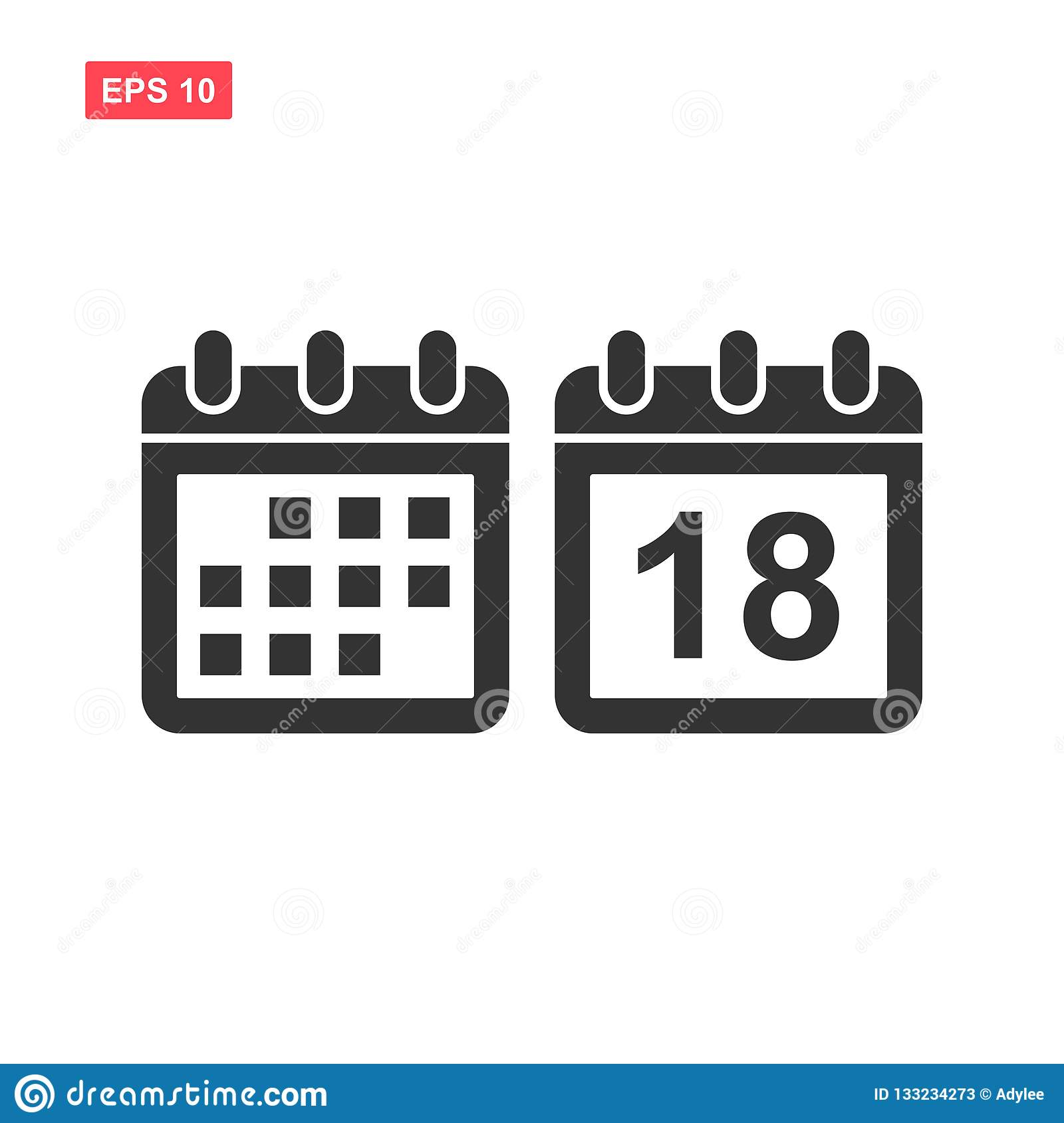 Set of calendar vector icon isolated