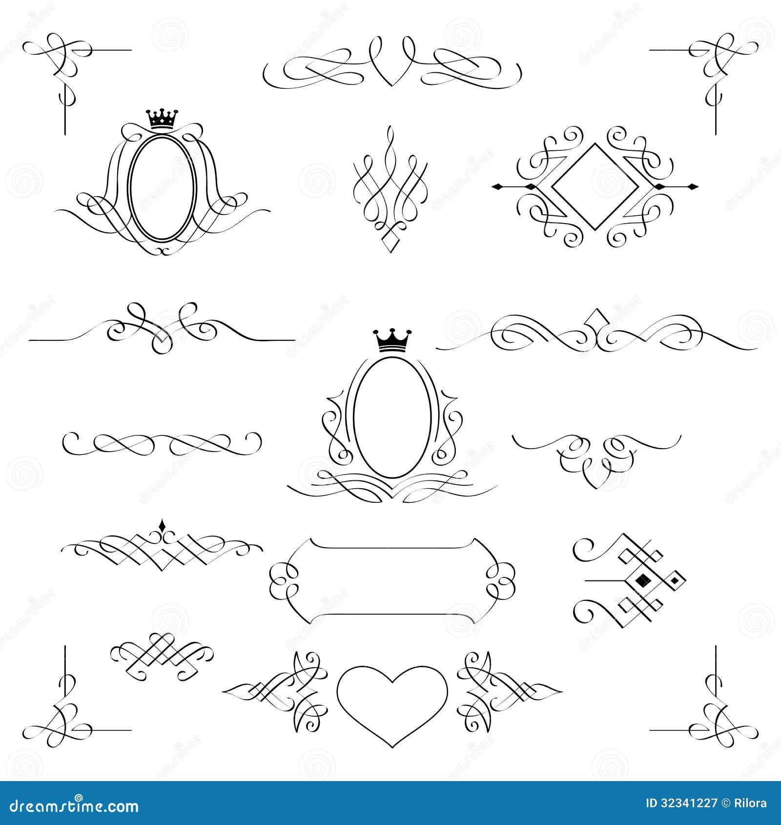 Set of calligraphic design elements vector stock