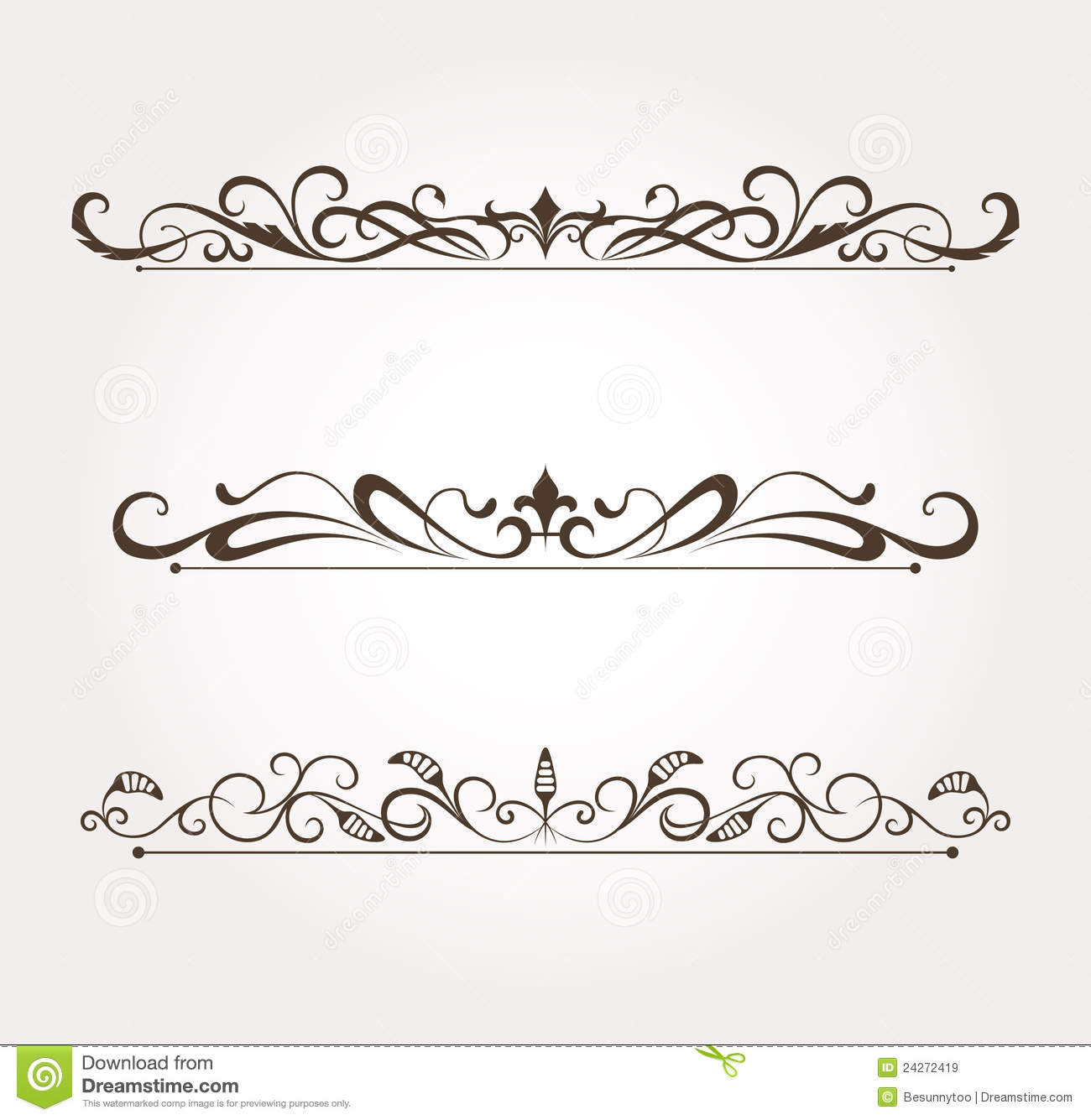 Set of calligraphic floral design elements royalty free