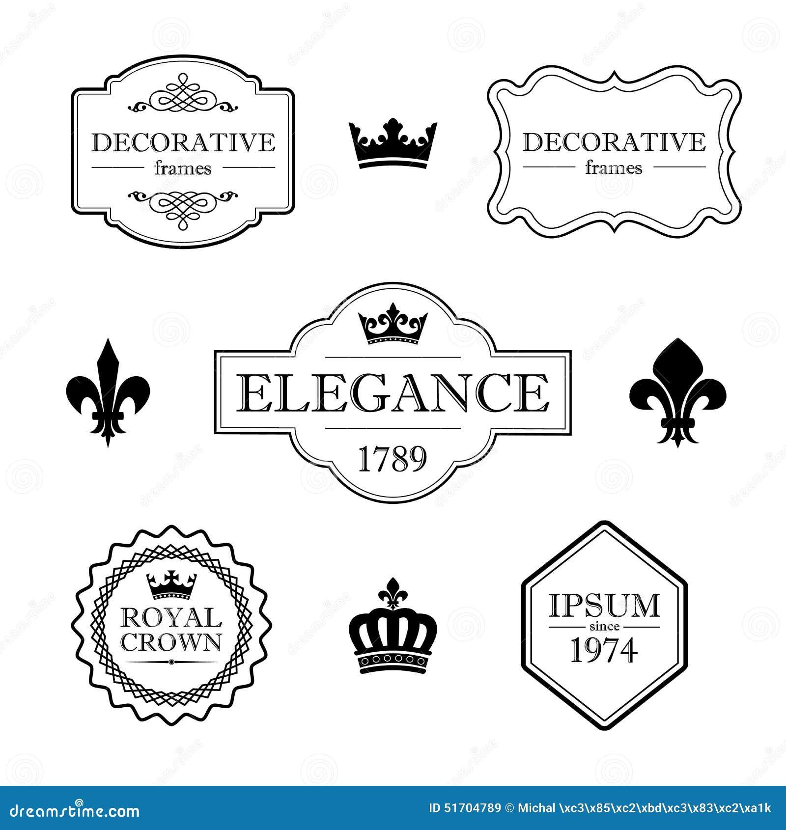 Set of calligraphic flourish design elements - fleur de lis, crowns, frames and borders - decorative vintage style