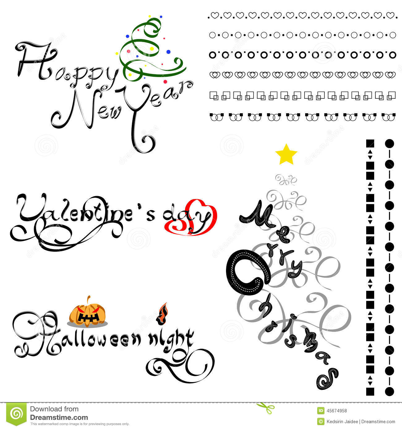 Set Calligraphic Line And Calligraphy Vector Stock Vector