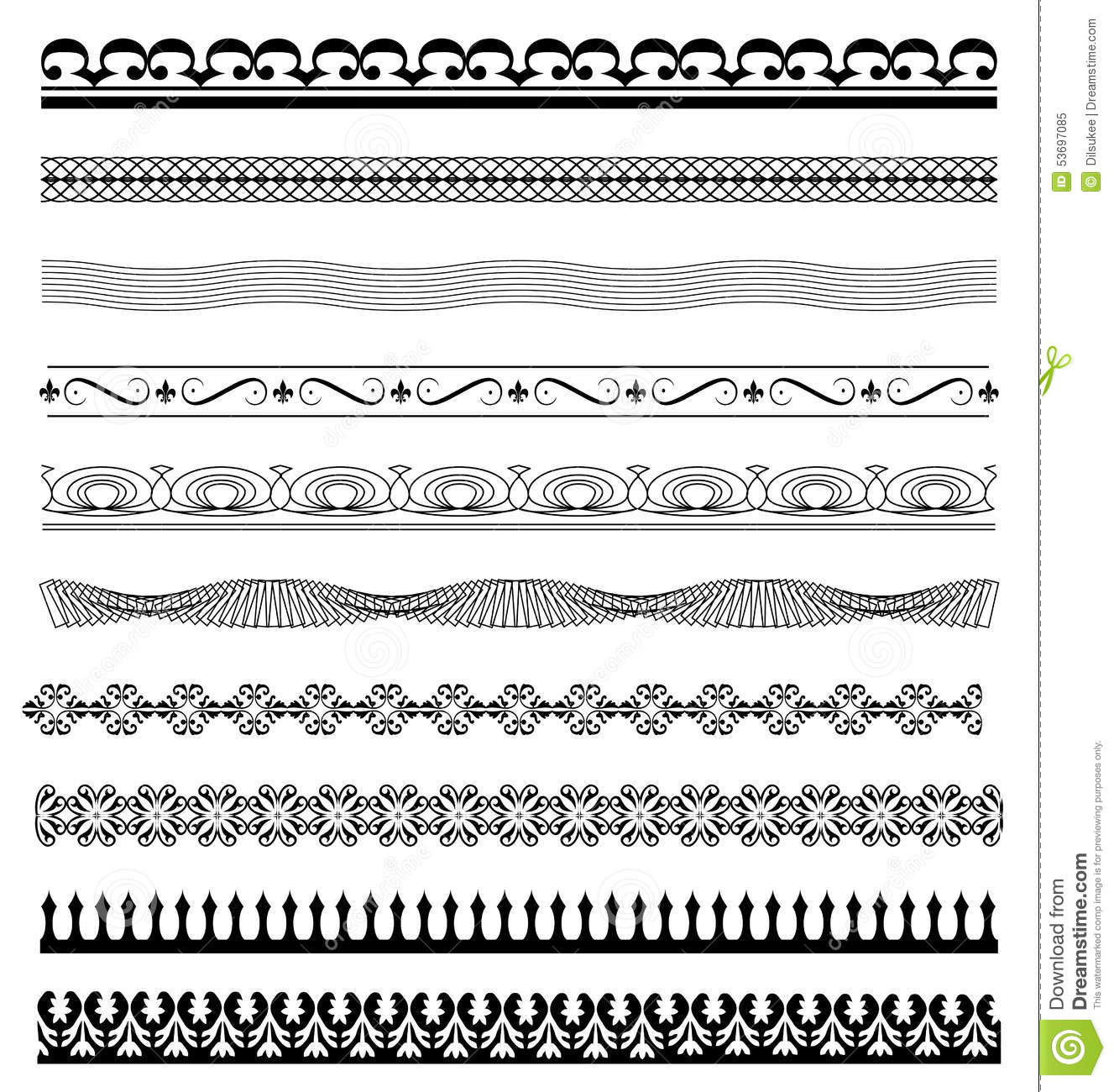 Set Calligraphic Line Design Illustrator Stock Vector